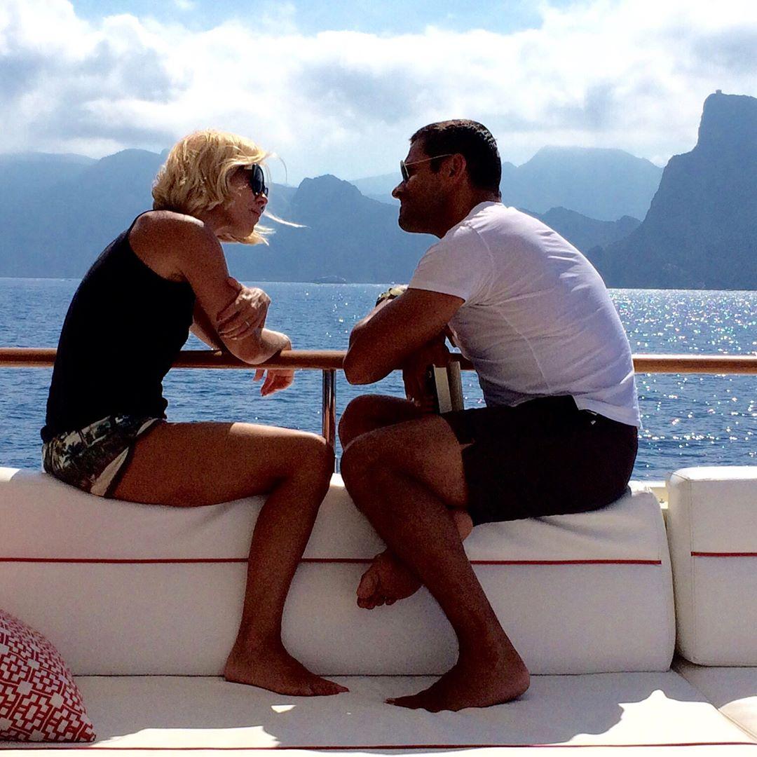 Kelly Ripa and Mark Consuelos on Boat