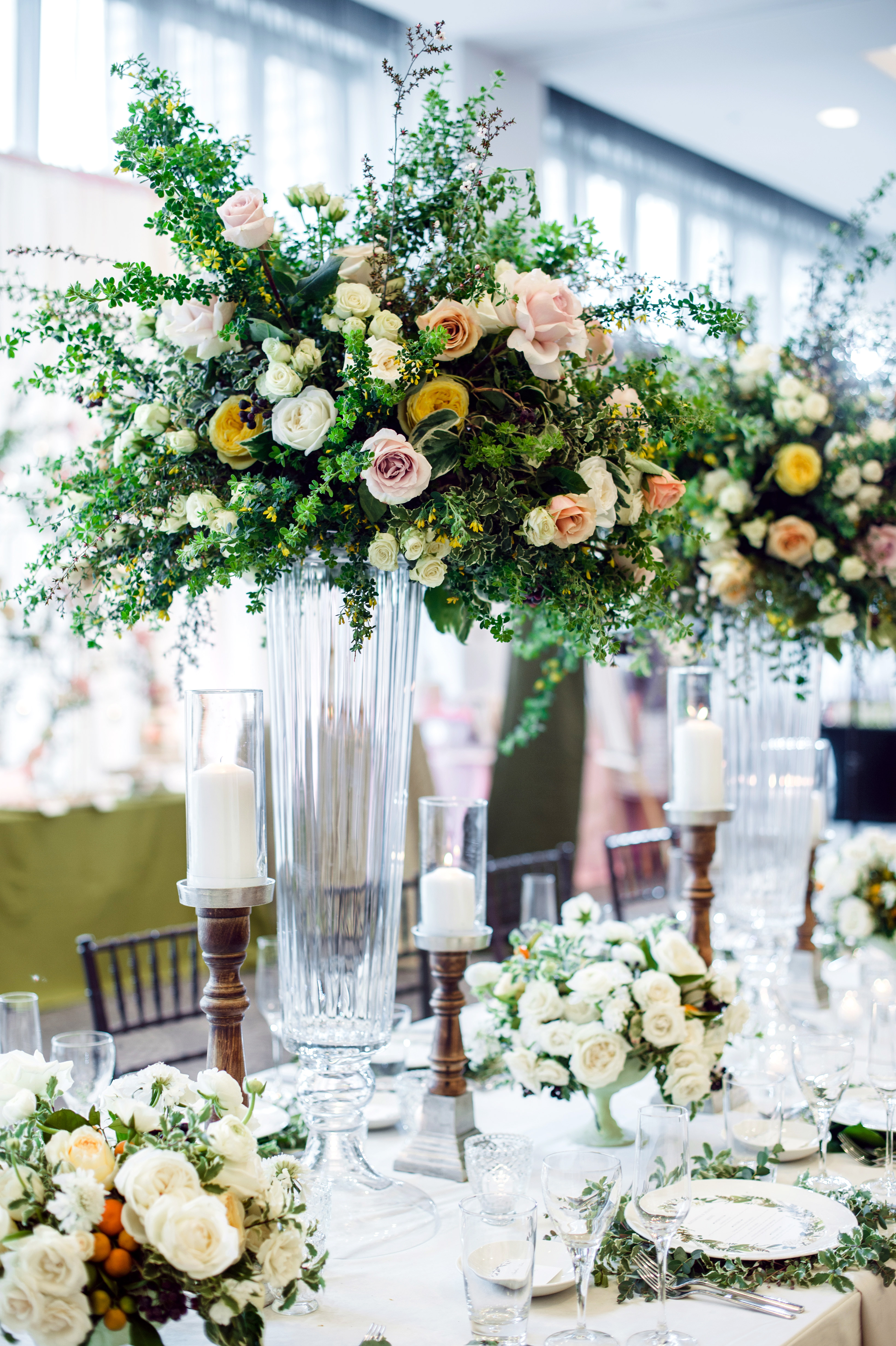 wedding party tablescape with flowers