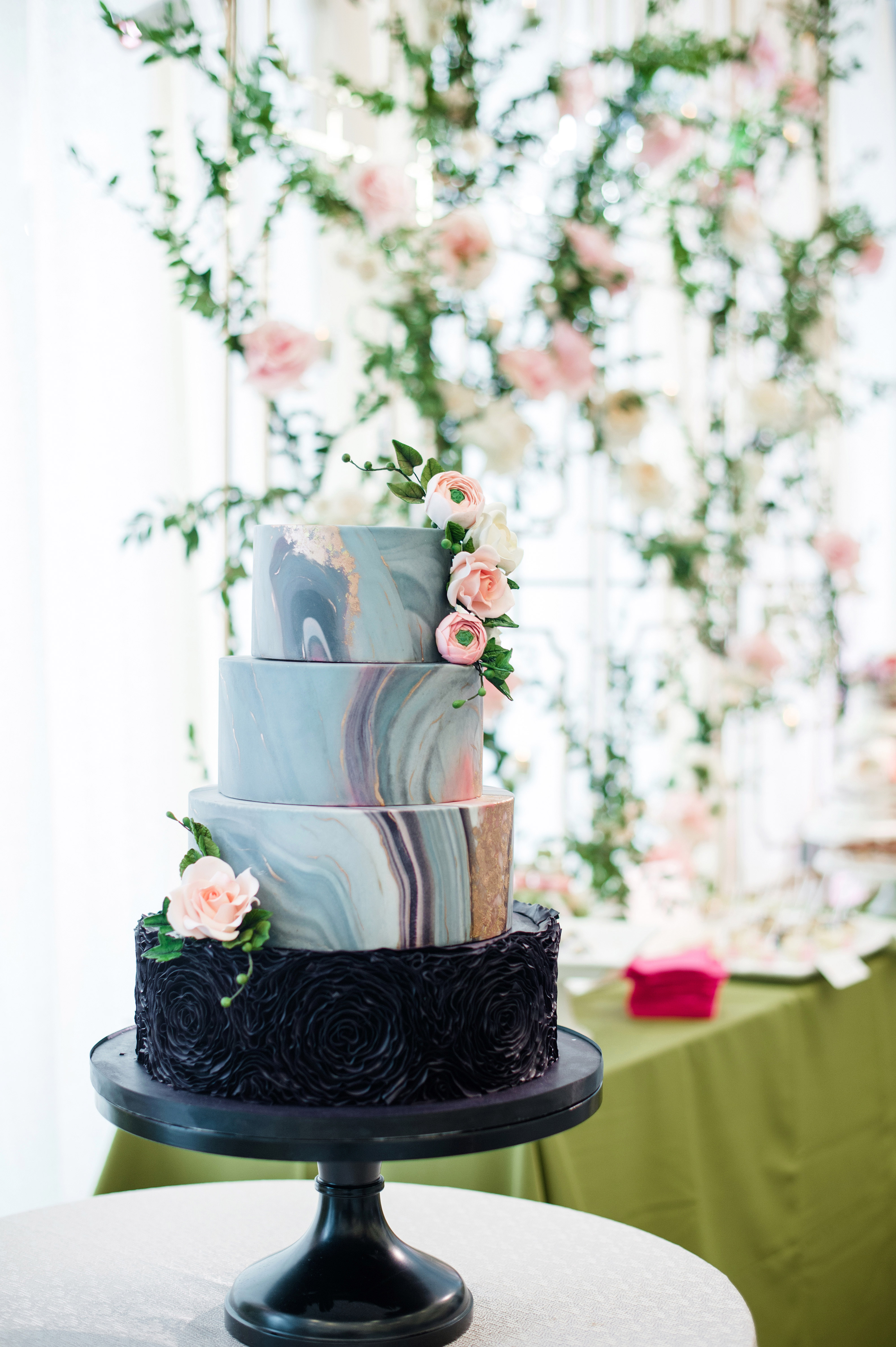 wedding party blue tiered cake