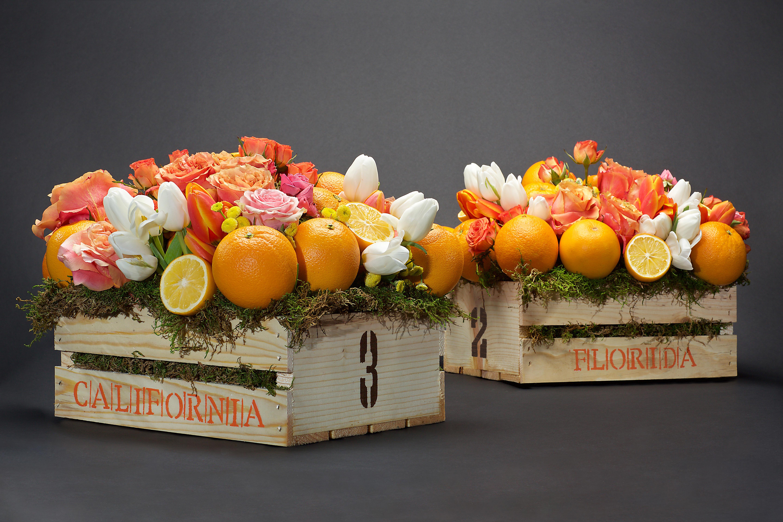 citrus centerpieces orange blossoms table numbers box