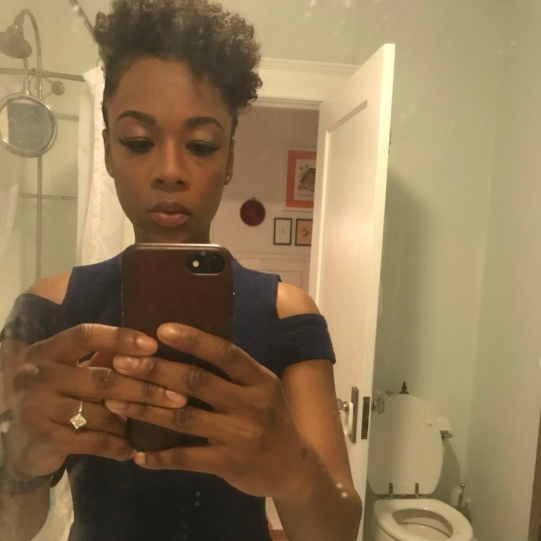 Samira Wiley Engagement Ring Selfie