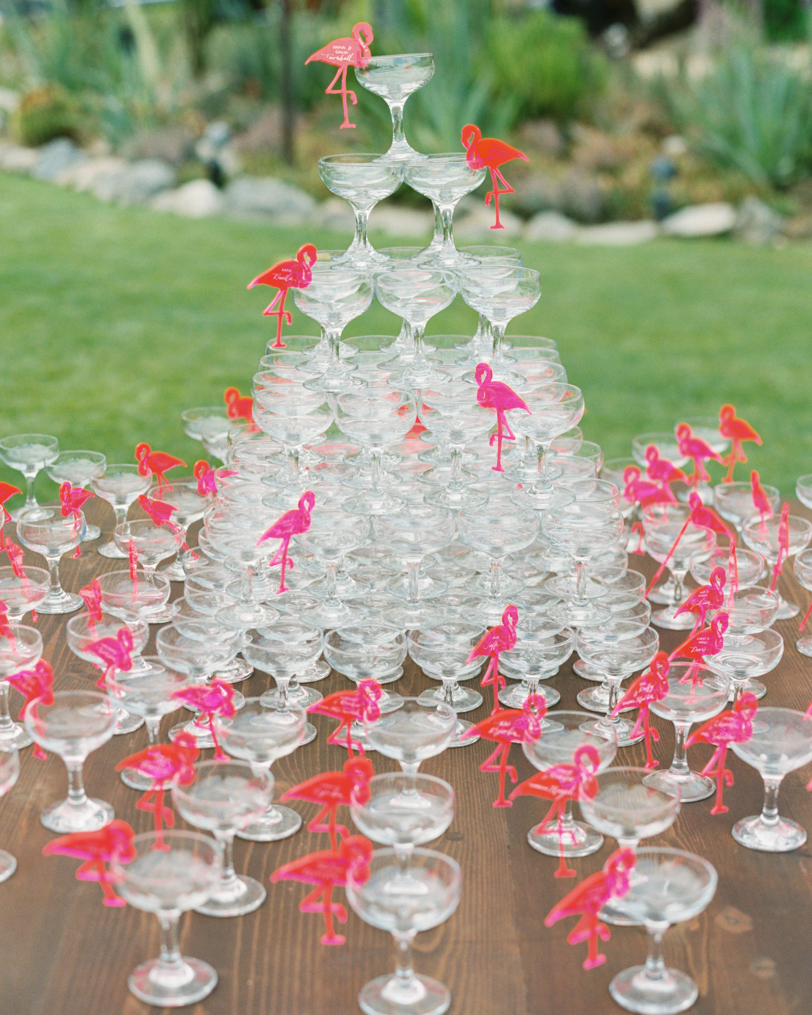 summer reception ideas flamingo Champagne tower