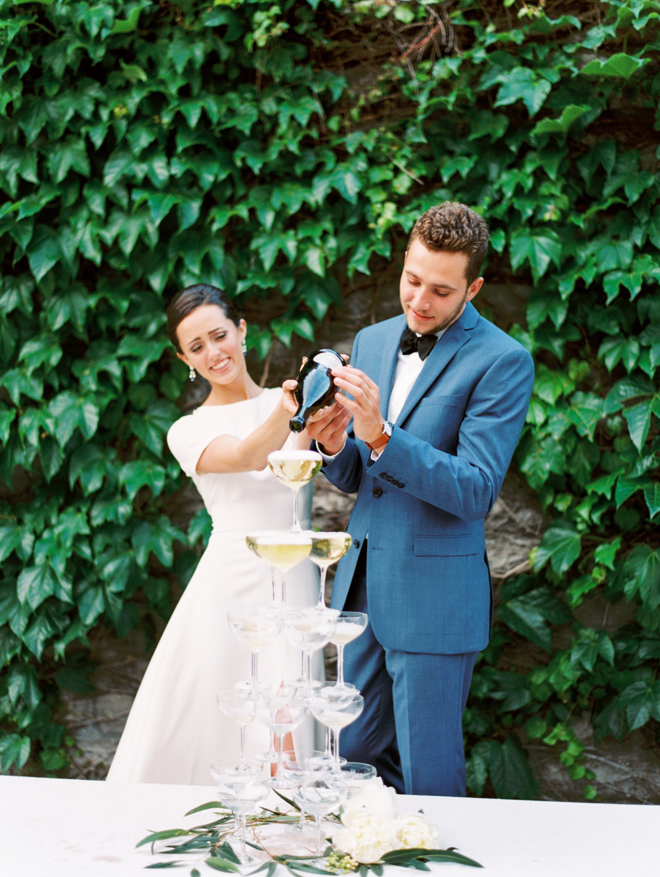couple with champagne tower