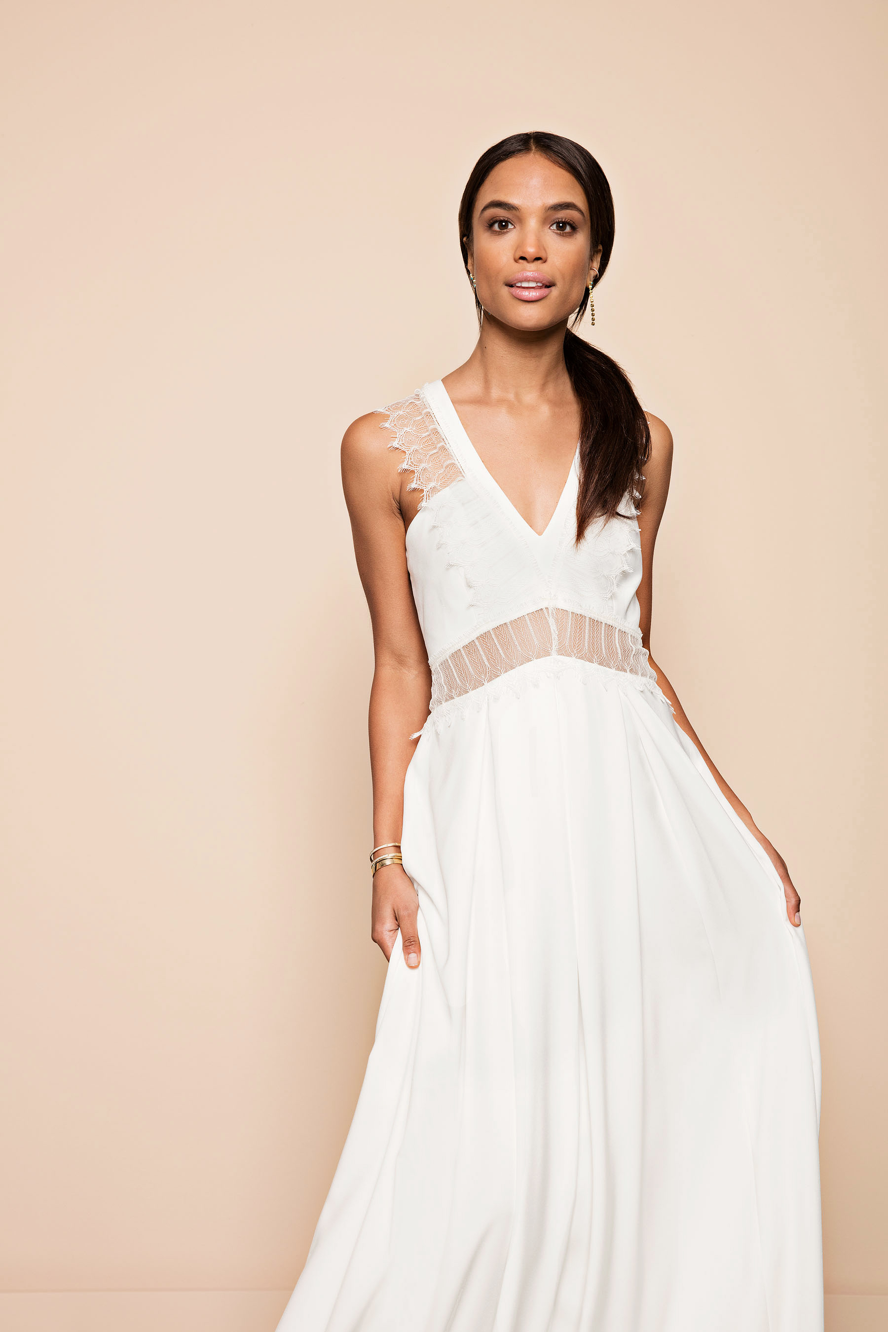 white sleeveless v neck column dress lace cutouts rembo