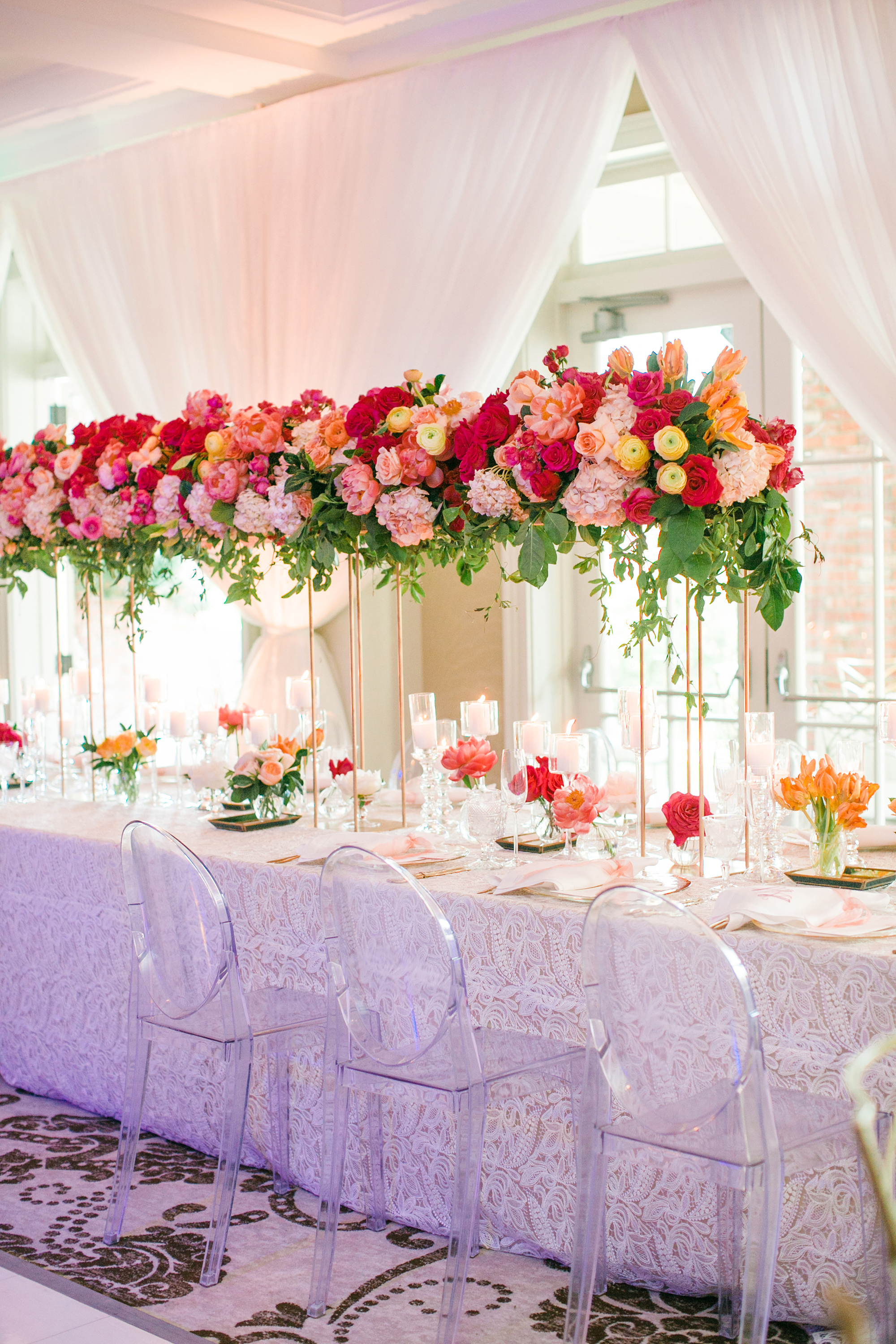 tall centerpieces with pink garden roses
