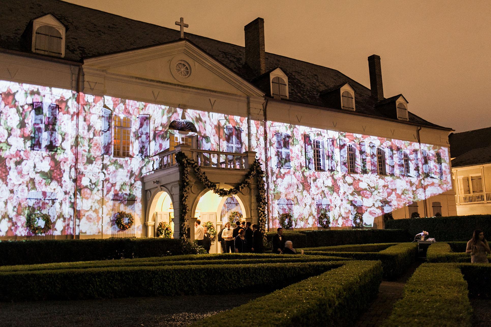 haylie bradley wedding louisiana floral projection exterior