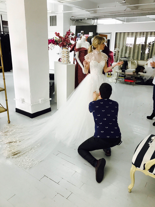 Carlson Young Dress Wedding Dress Fitting Custom Christian Siriano
