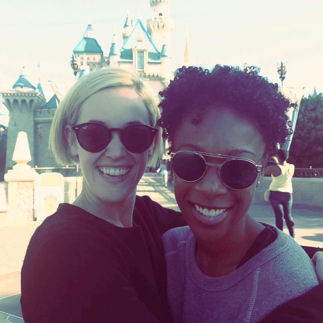 Samira Wiley and Lauren Morelli in Disneyland