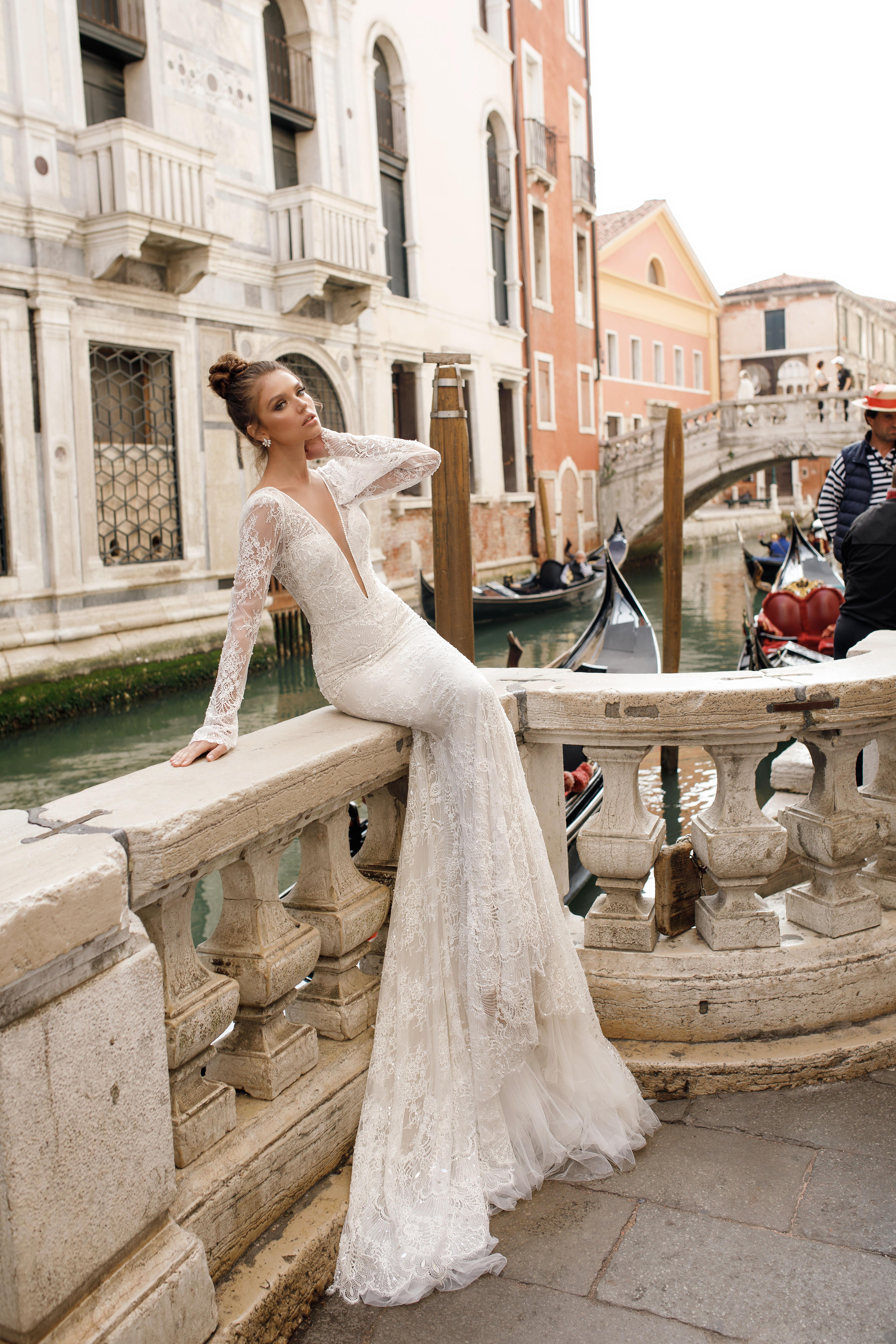 long sleeve trumpet julie vino wedding dress spring2018