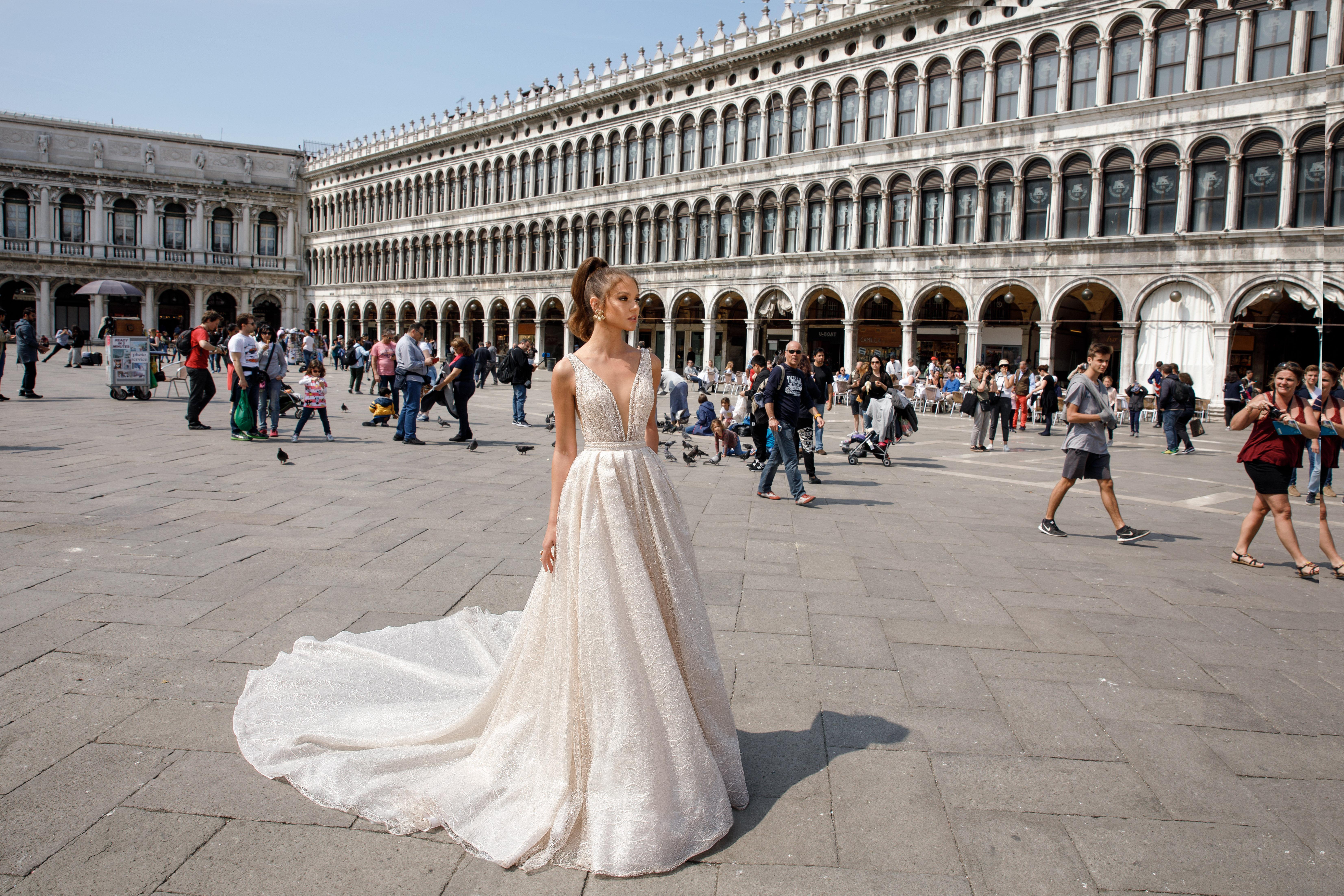 v-neck a-line julie vino wedding dress spring2018