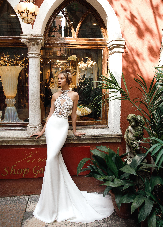 high neck trumpet julie vino wedding dress spring2018