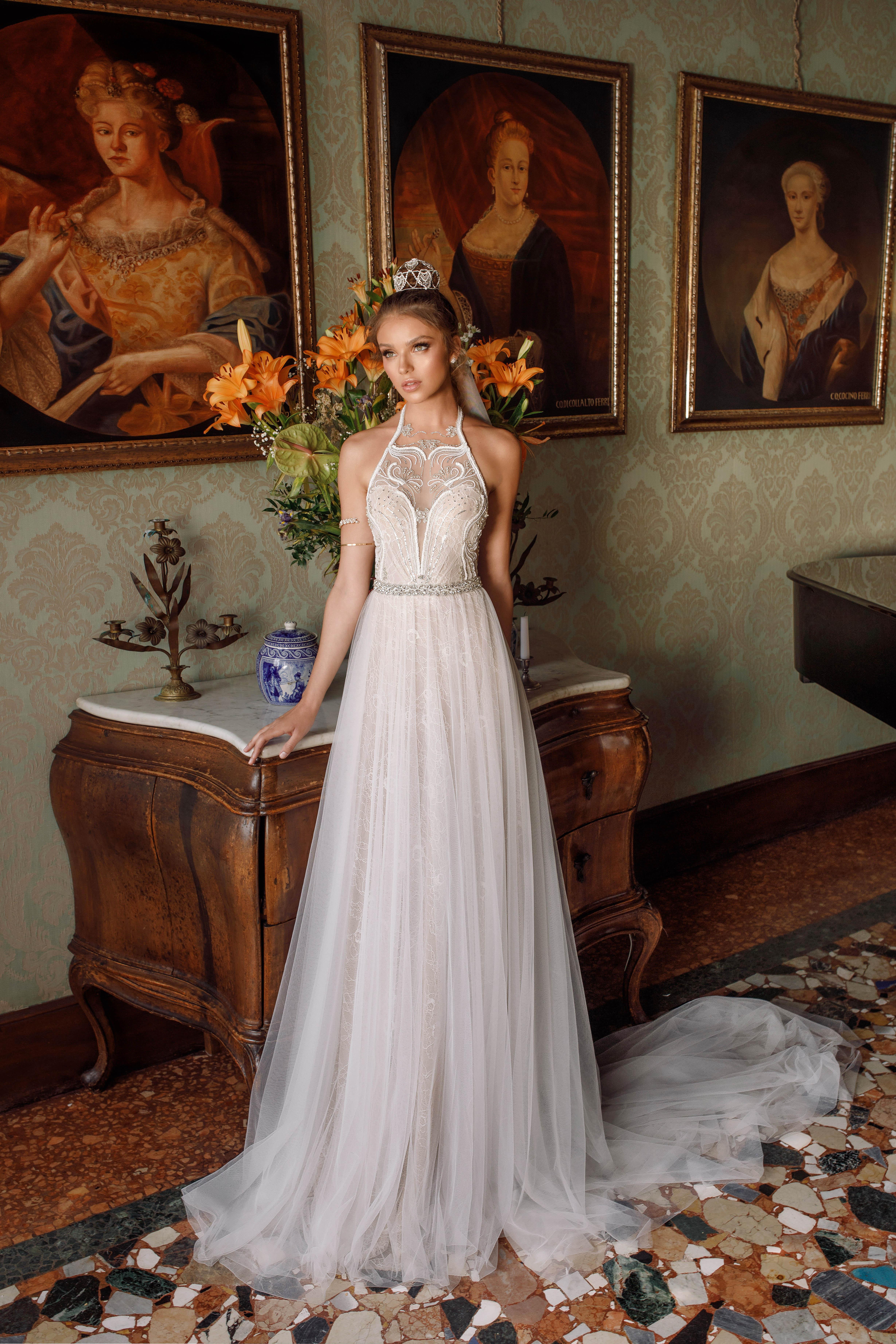 high neck a-line julie vino wedding dress spring2018
