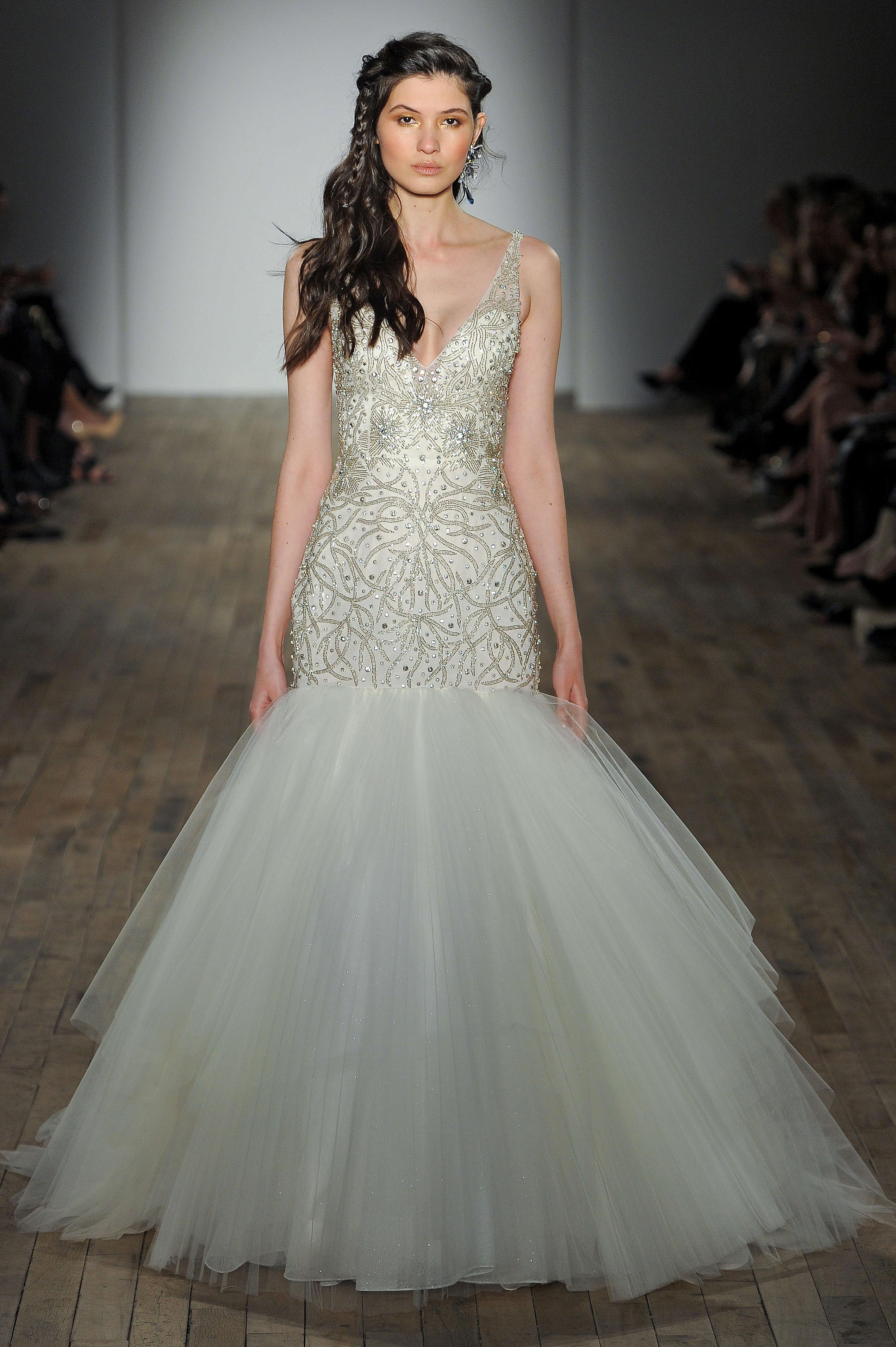 lazaro sheer strap wedding dress spring 2018