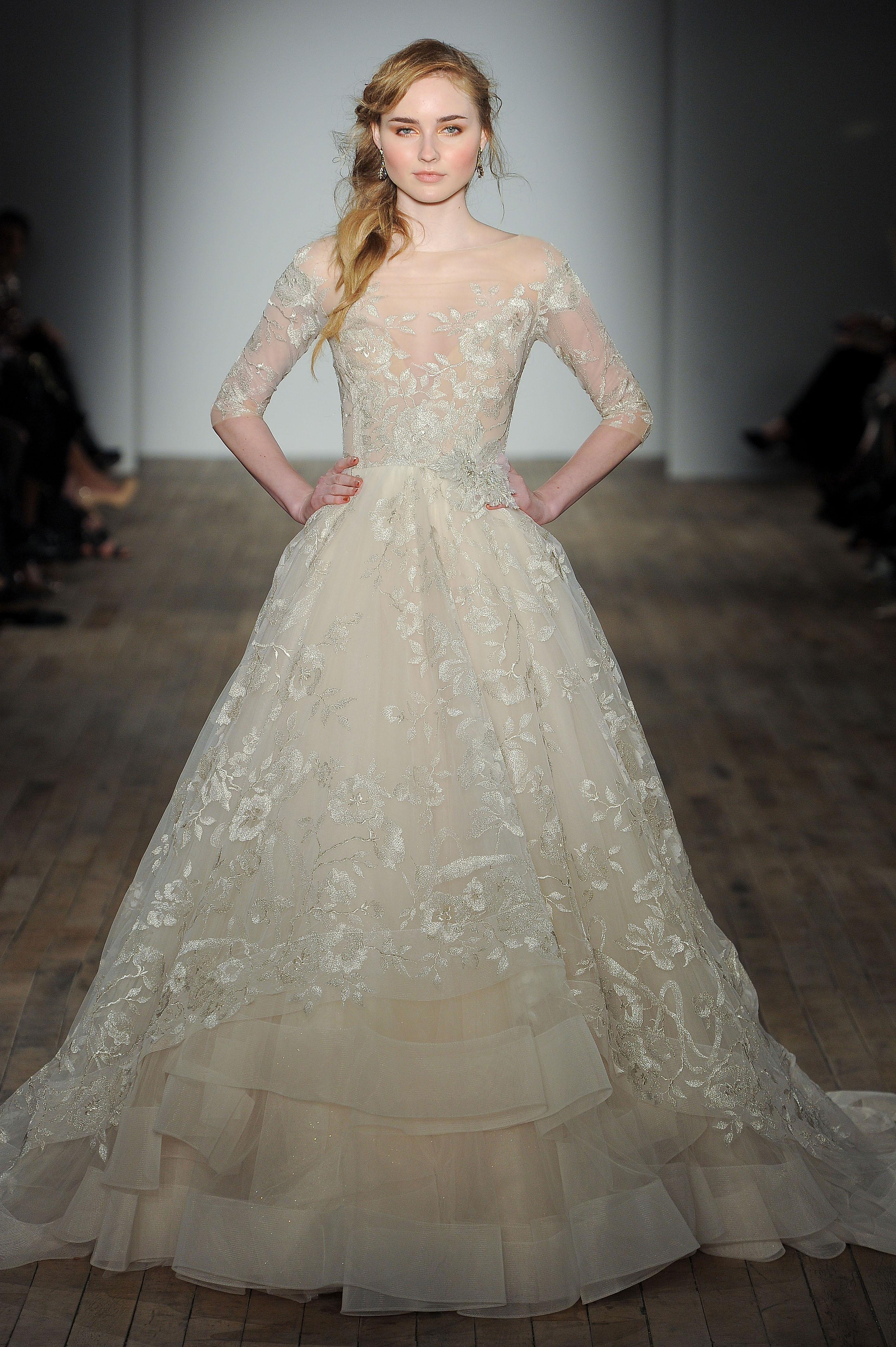 lazaro three quarter sleeve wedding dress spring 2018