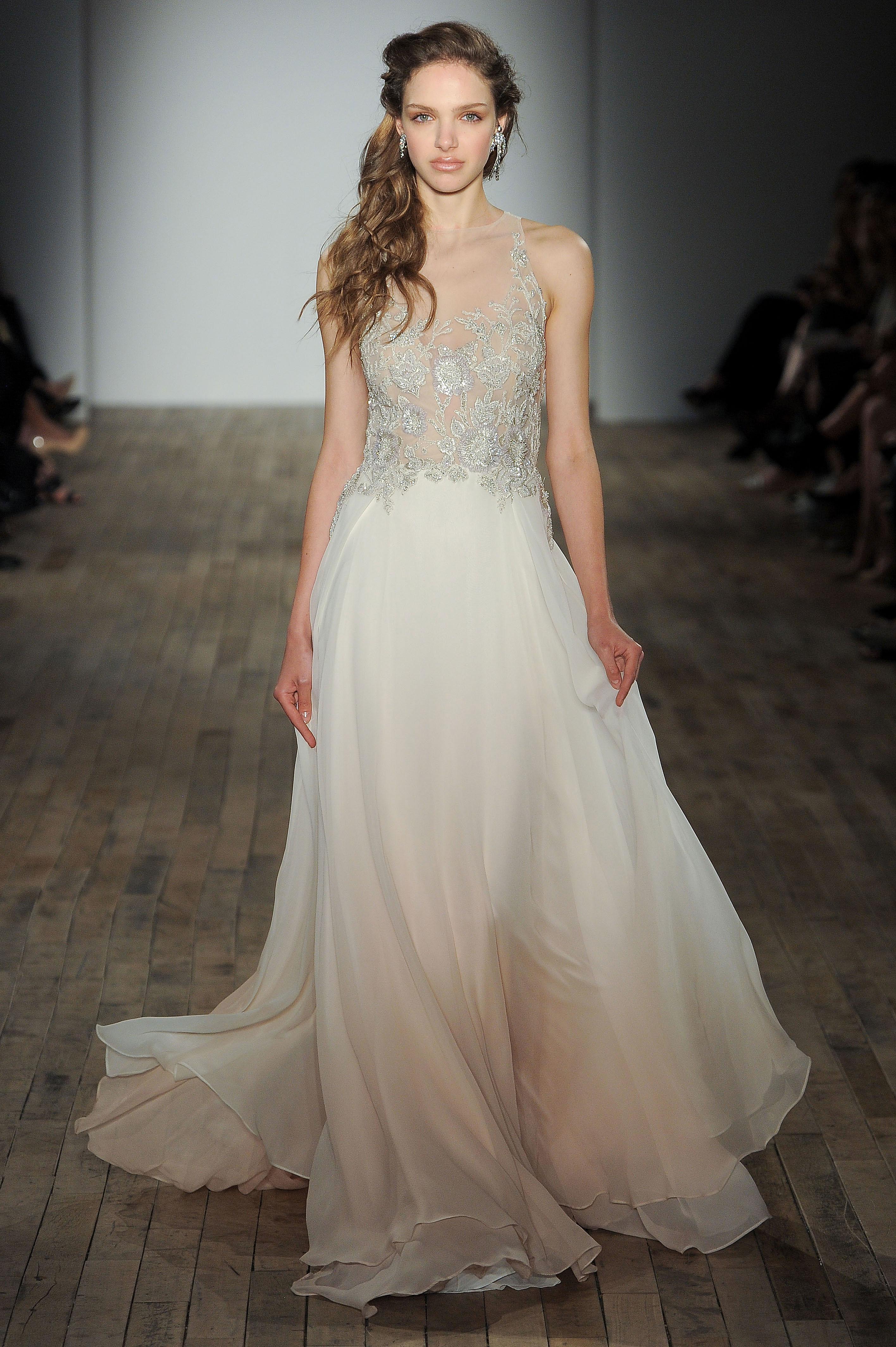 lazaro v-neck sheer ball gown wedding dress spring 2018