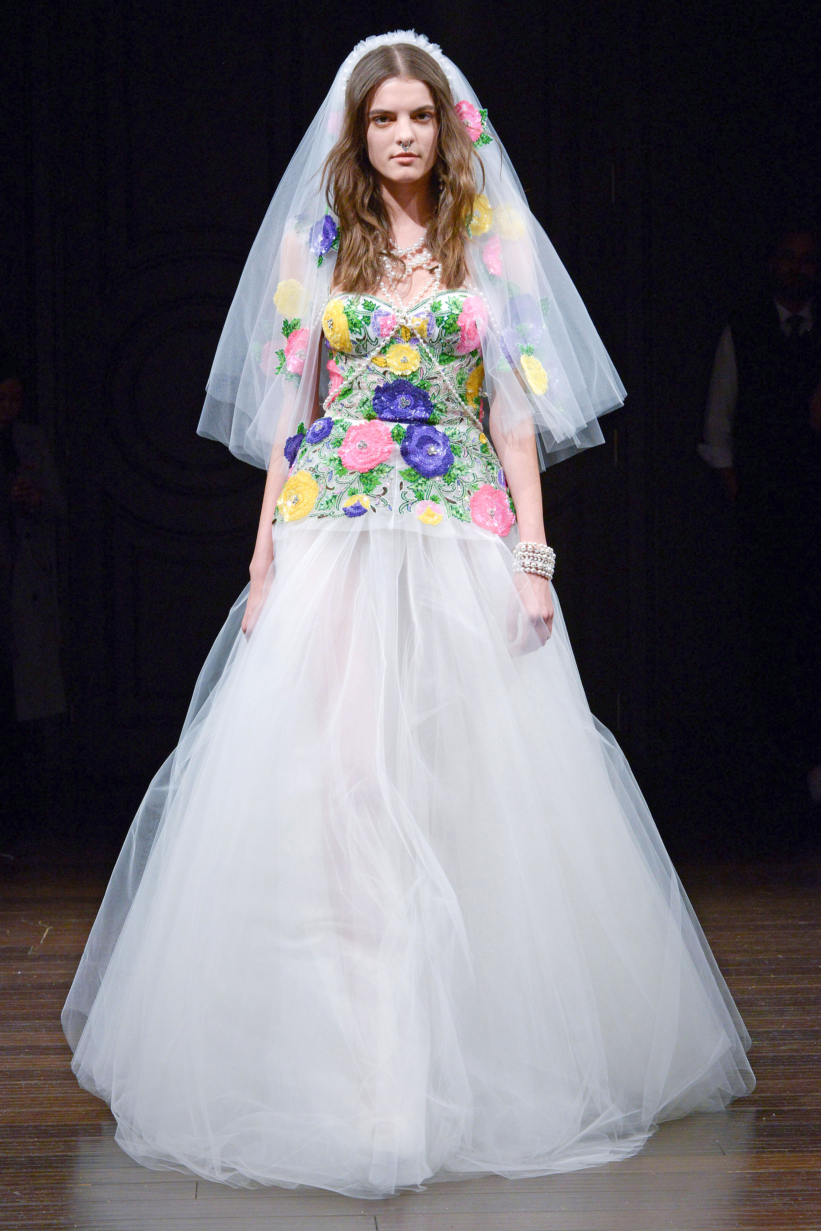 naeem khan floral a-line wedding dress spring 2018