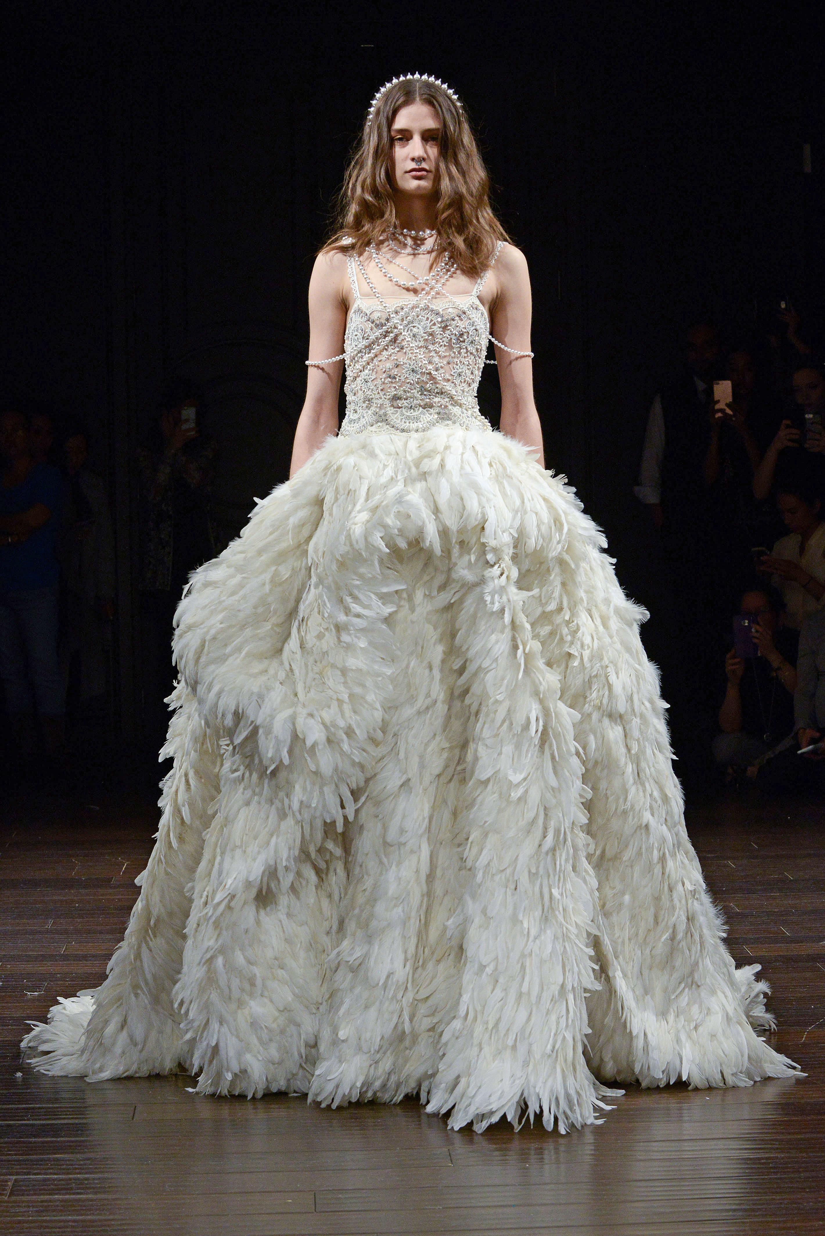 naeem khan feather a-line wedding dress spring 2018