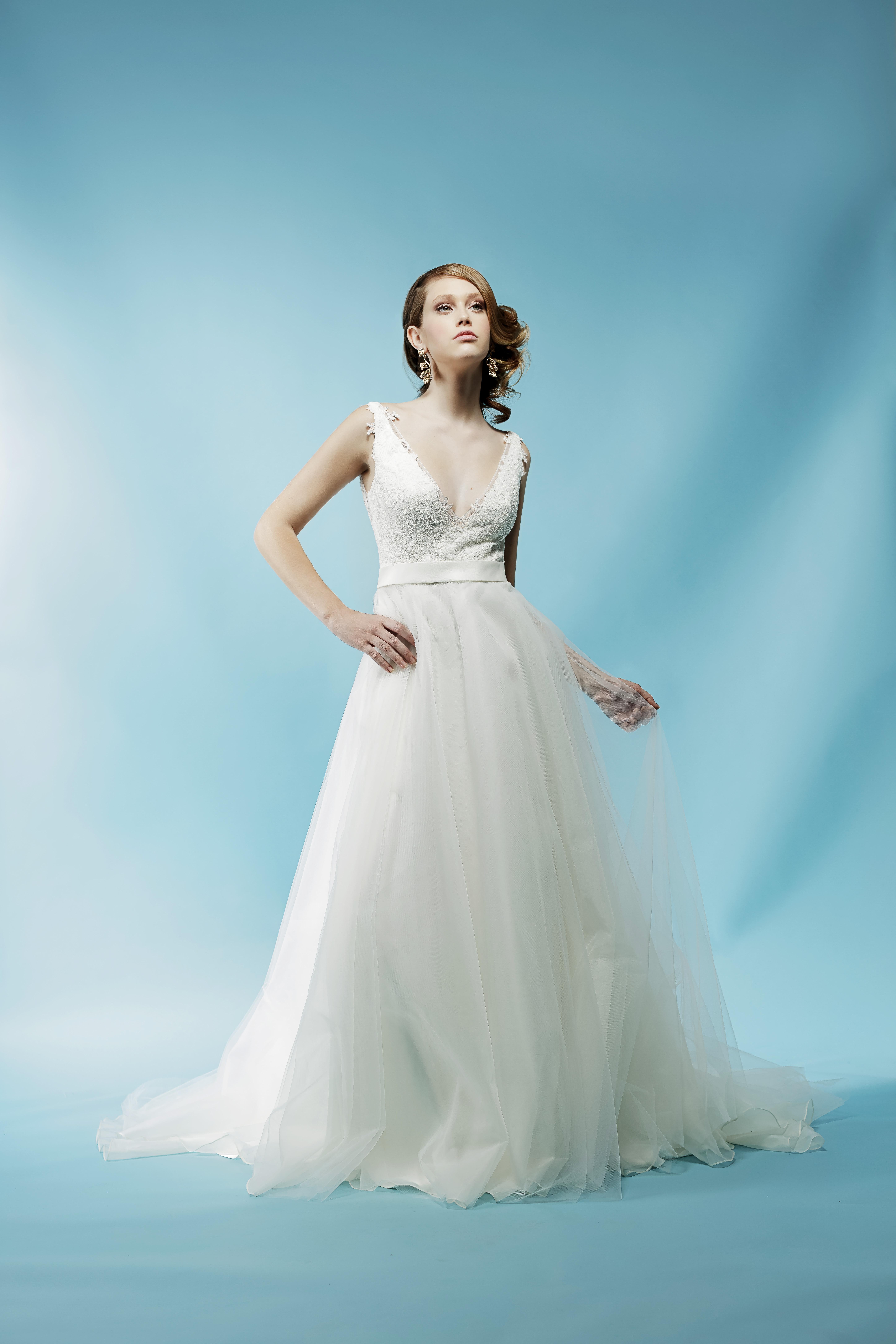 v-neck tulle ivy aster wedding dress spring2018