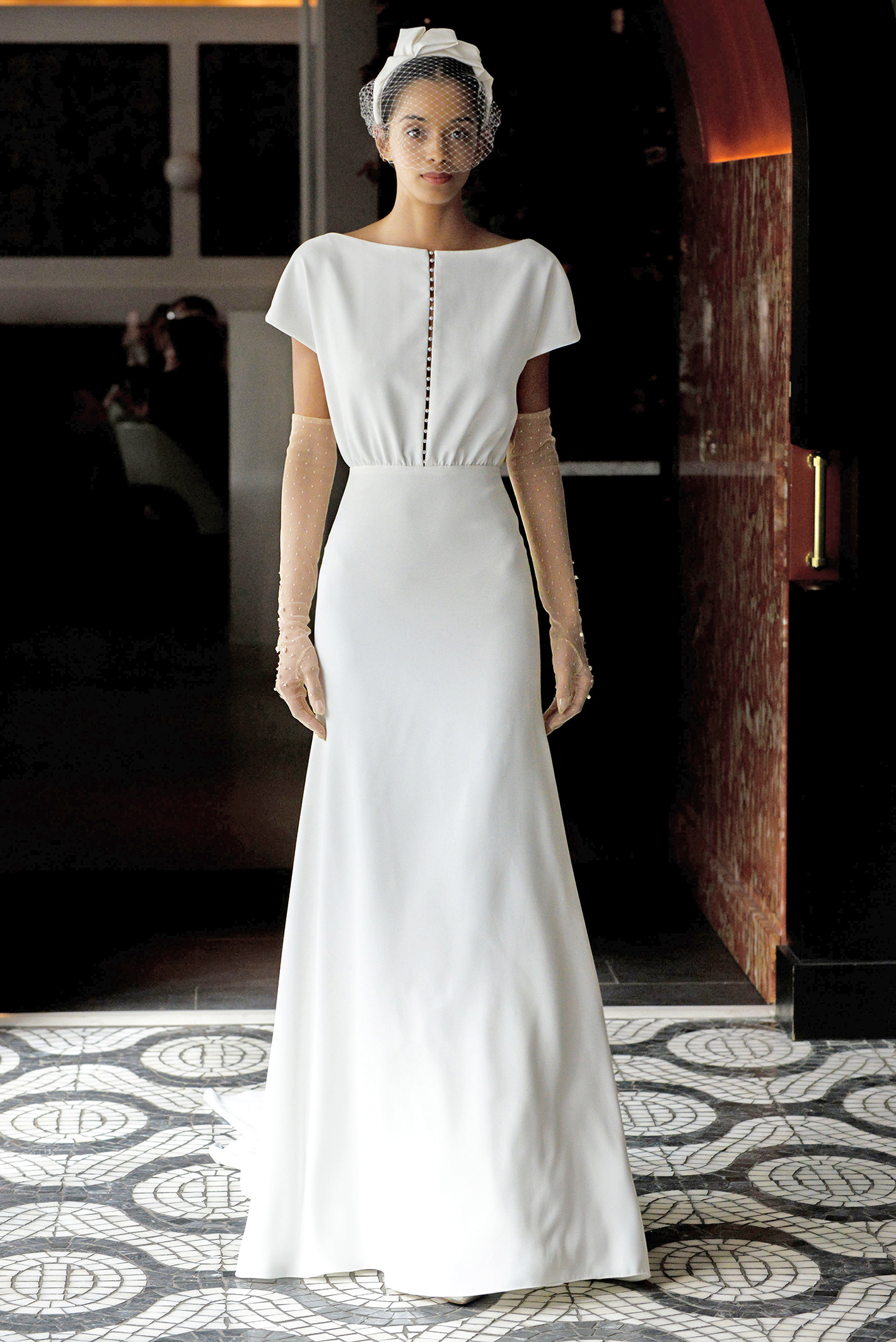 lela rose wedding dress spring 2018 short sleeve button bodice