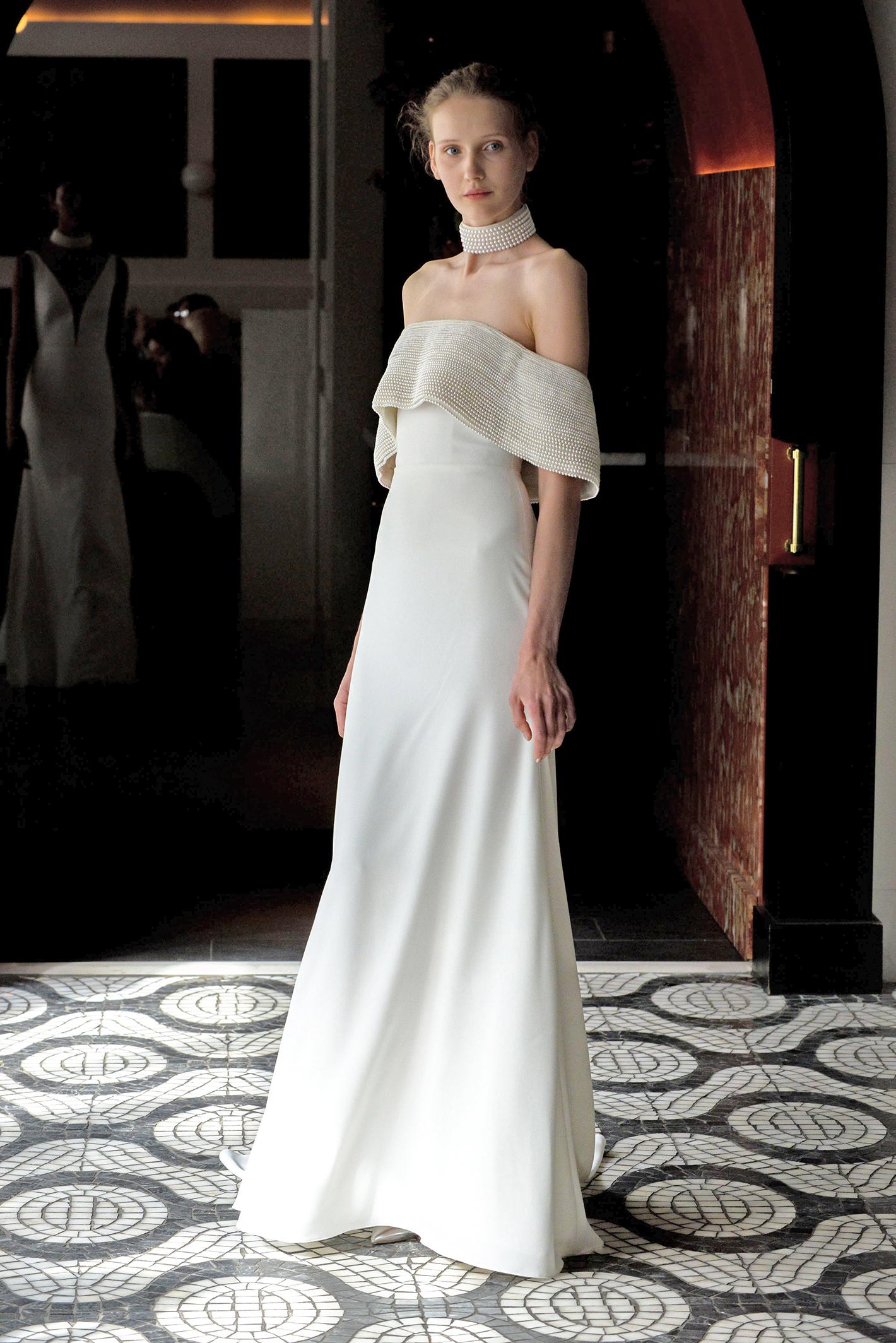 lela rose wedding dress spring 2018 draped off-the-shoulder