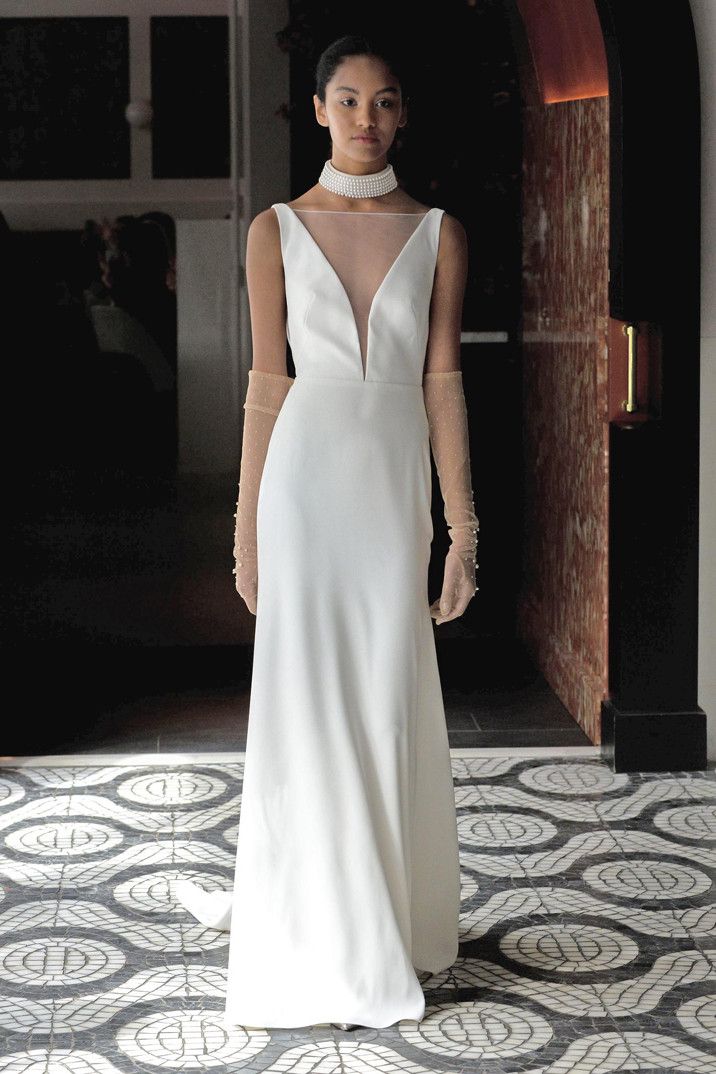 lela rose wedding dress spring 2018 plunging illusion neckline