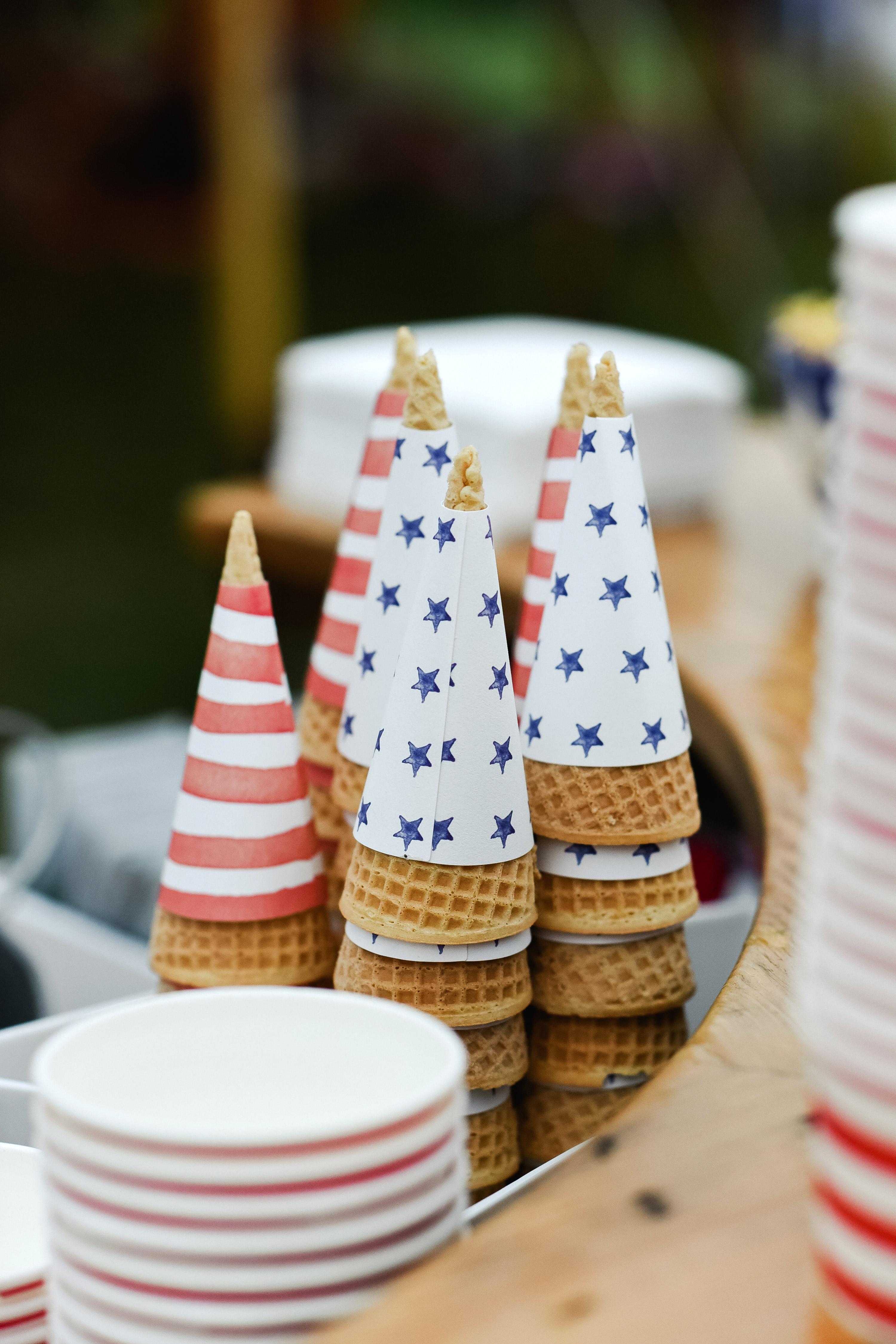 patriotic party ice cream cones