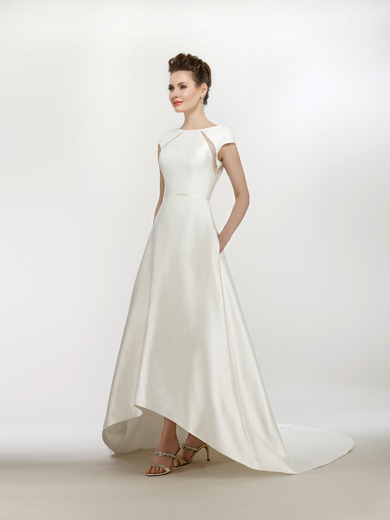 steven birnbaum wedding dress spring 2018 cap sleeves hi low