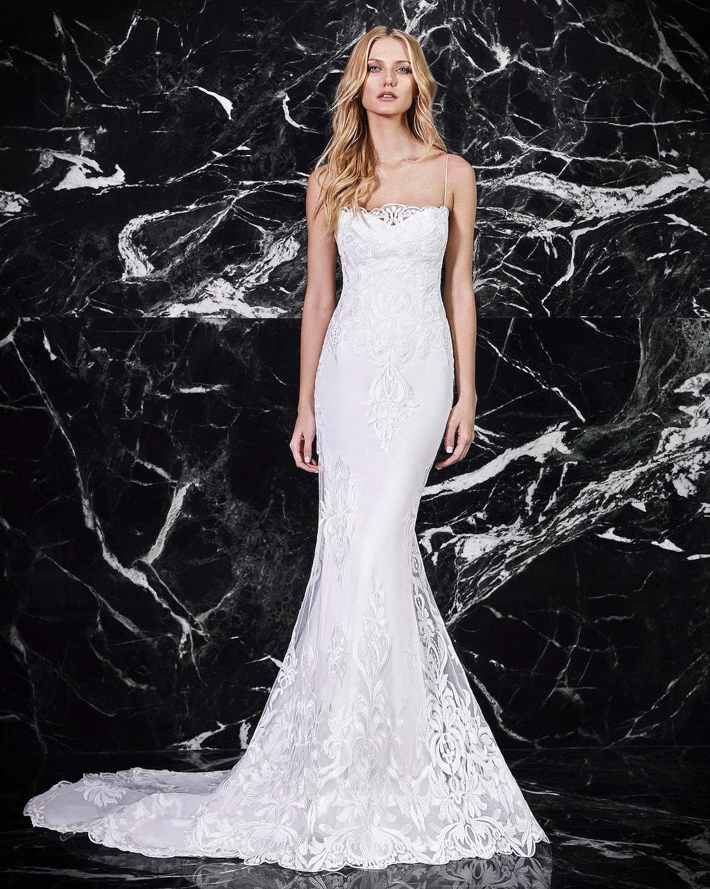 victoria kyriakides spaghetti strap trumpet wedding dress spring 2018