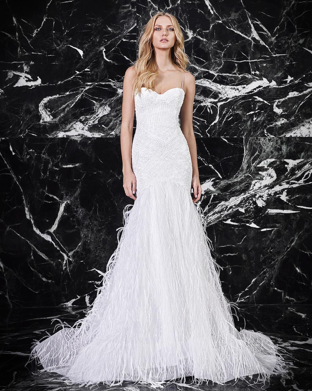 victoria kyriakides feathered bottom wedding dress spring 2018