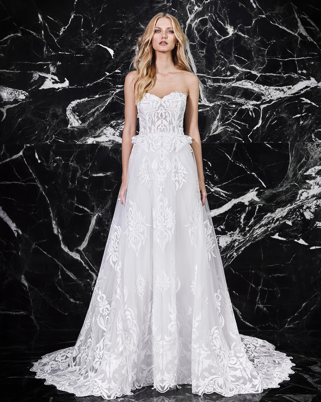 victoria kyriakides strapless lace wedding dress spring 2018