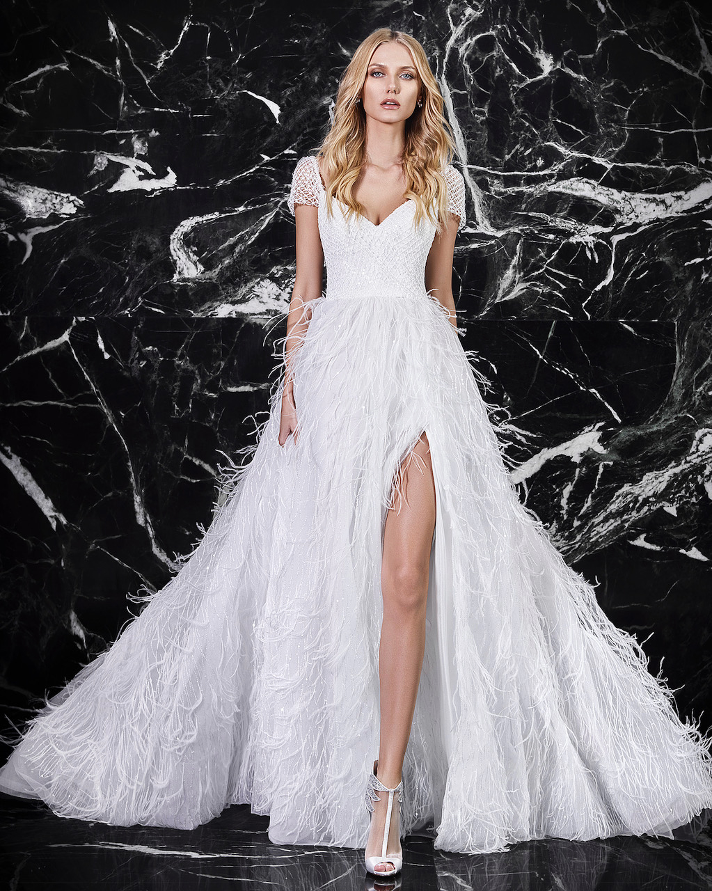 victoria kyriakides cap sleeve feather bottom wedding dress spring 2018