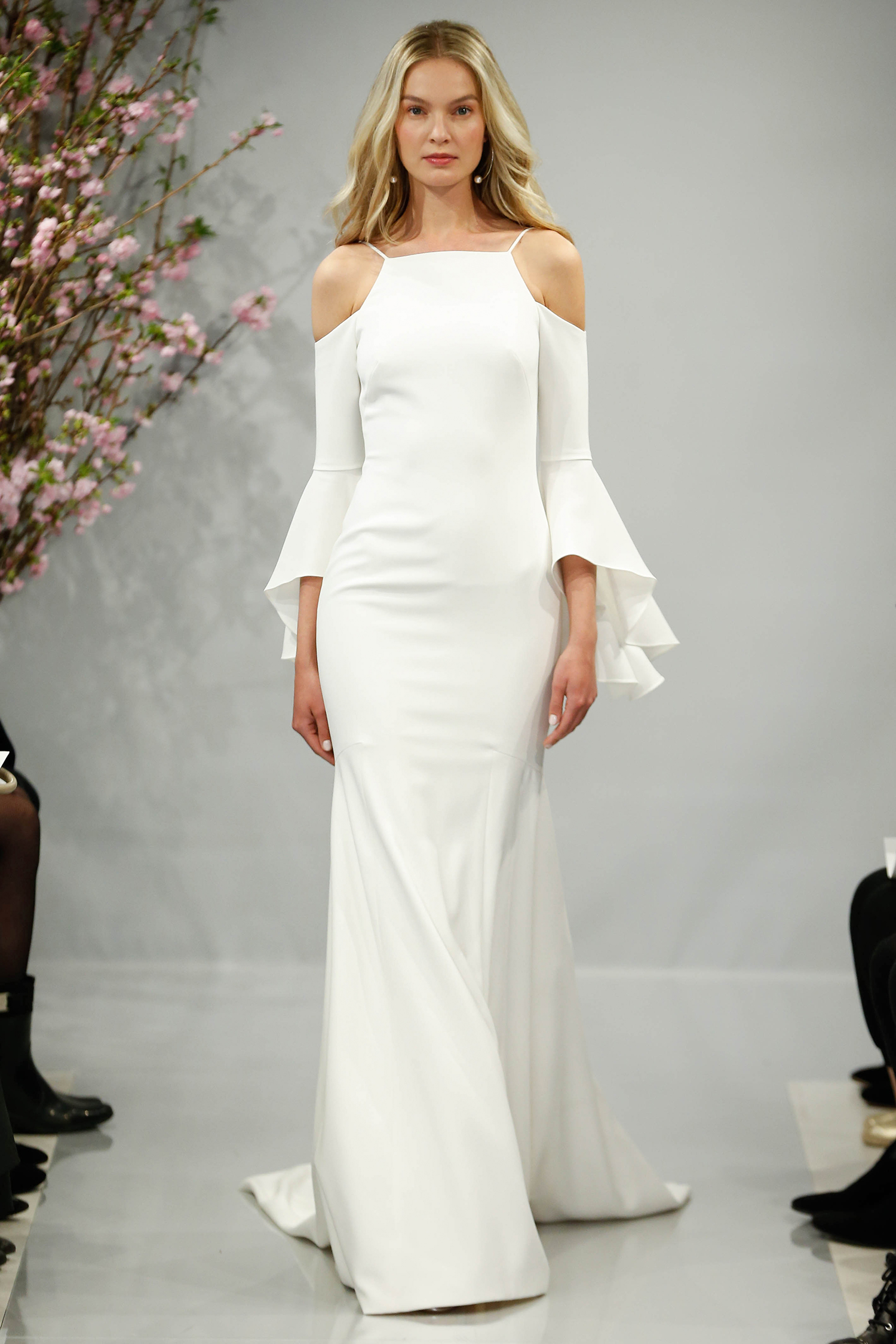 theia wedding dress spring 2018 cut-out shoulder high neck