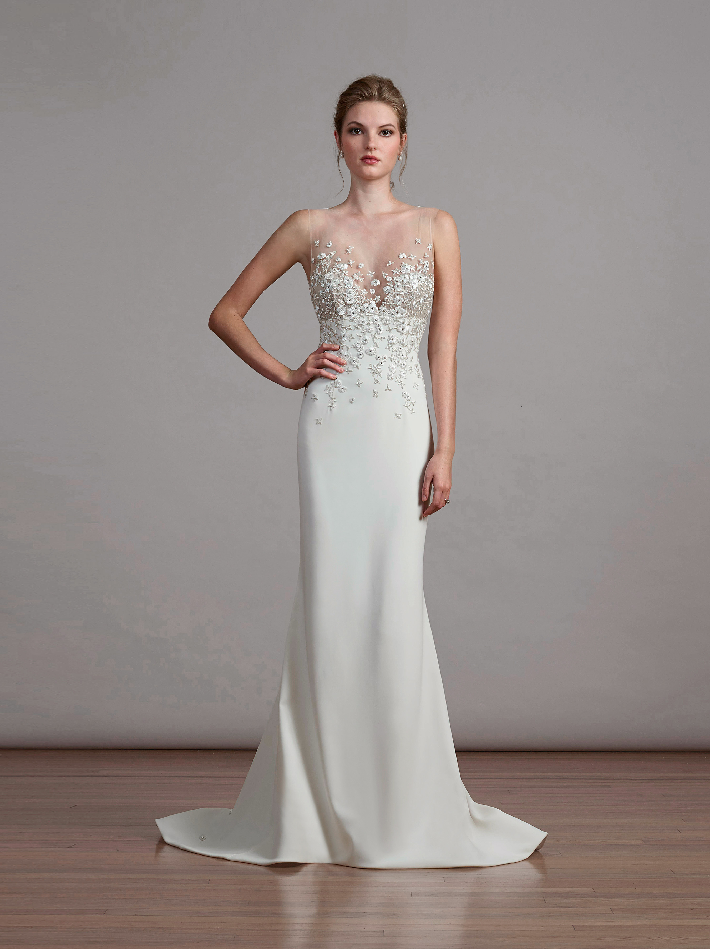 liancarlo illusion sheath wedding dress