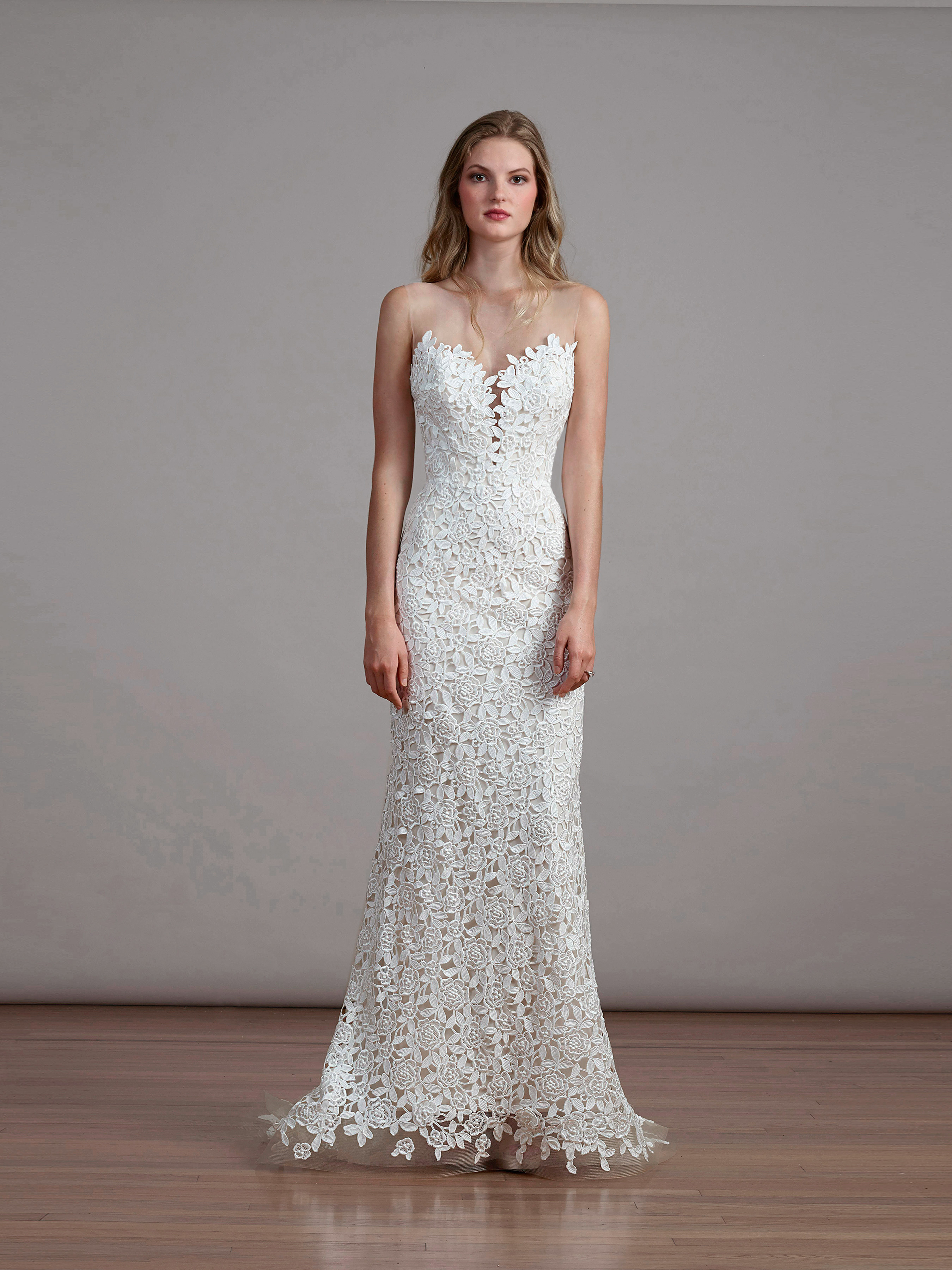 Liancarlo wedding dress with illusion neckline