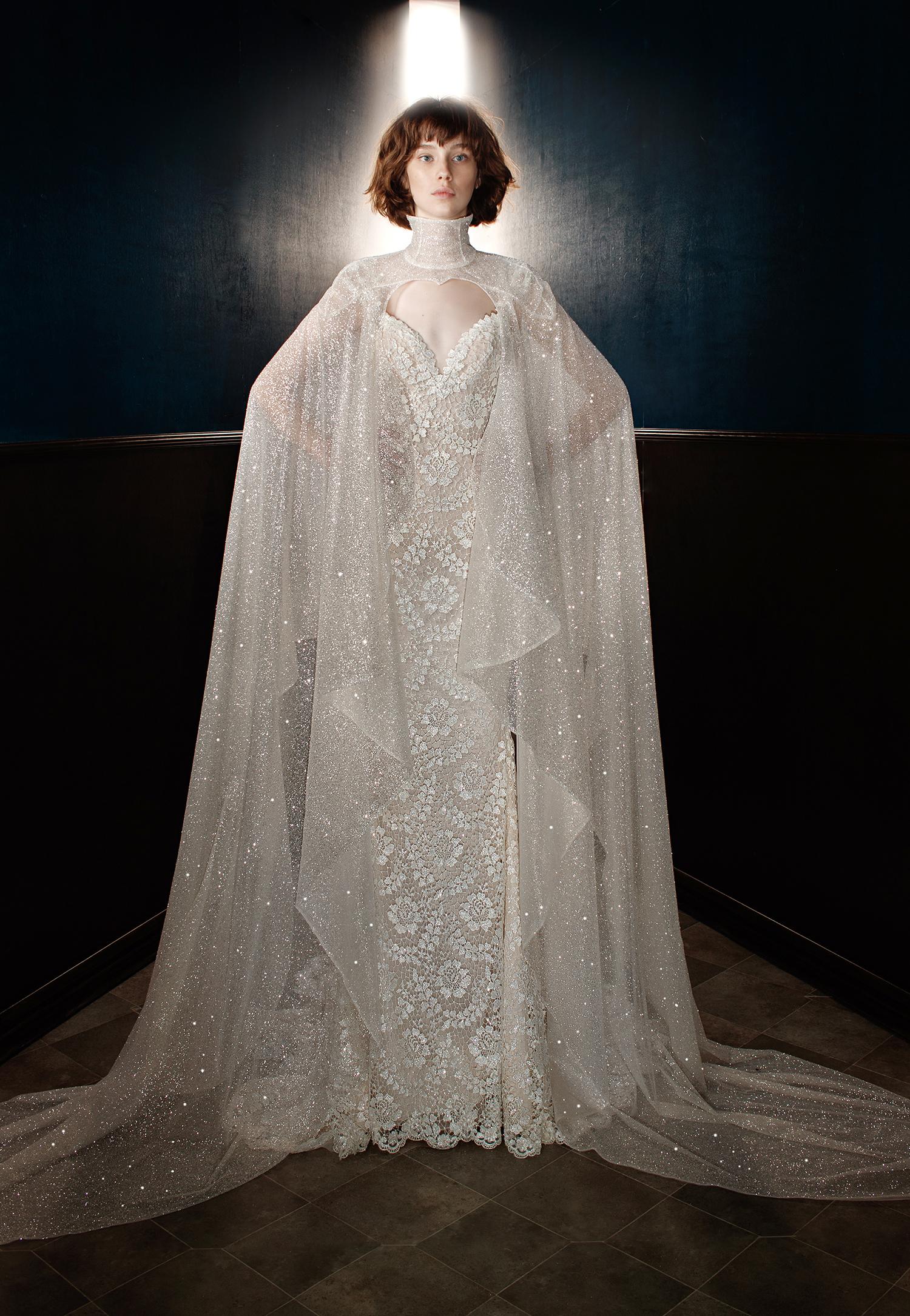 galia lahav wedding dress spring 2018 v-neck cape shimmer
