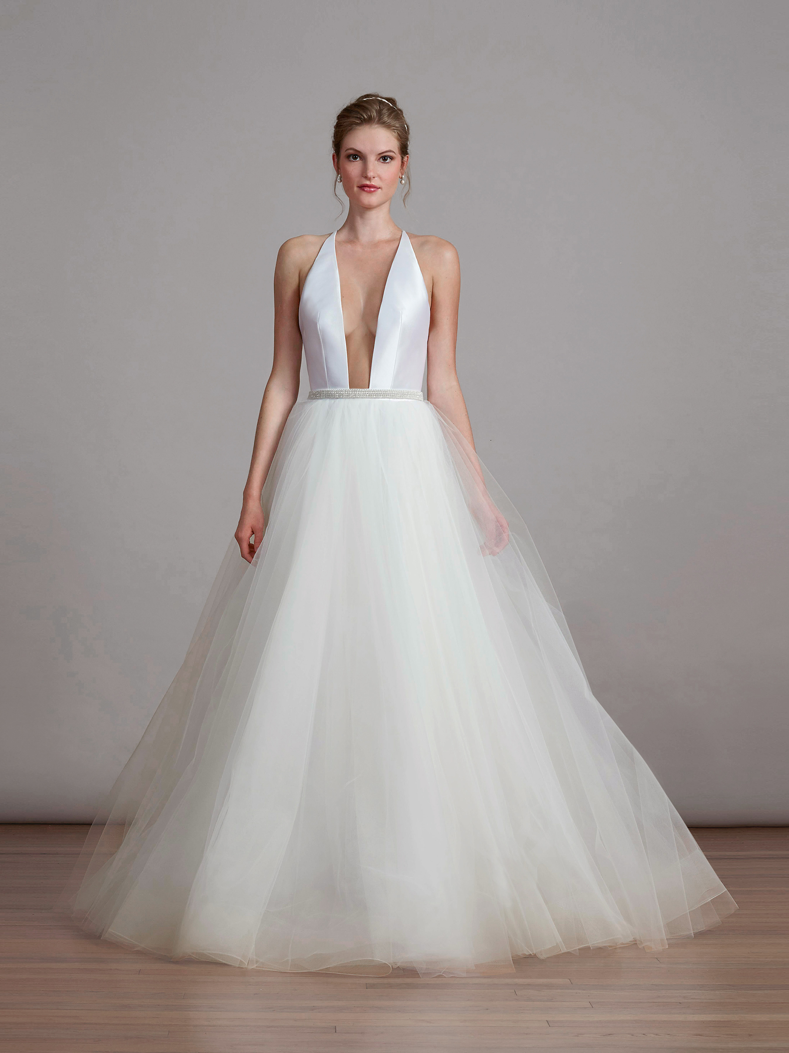 liancarlo halter wedding dress with tulle