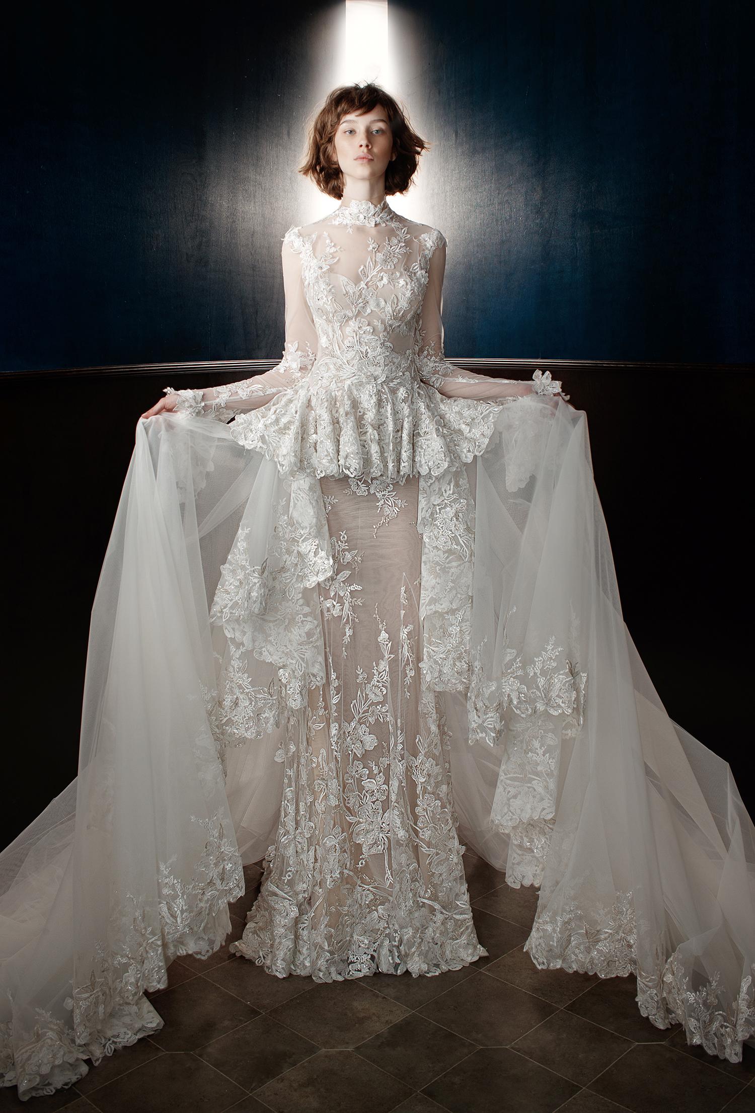 galia lahav wedding dress spring lace sheer tiered skirt
