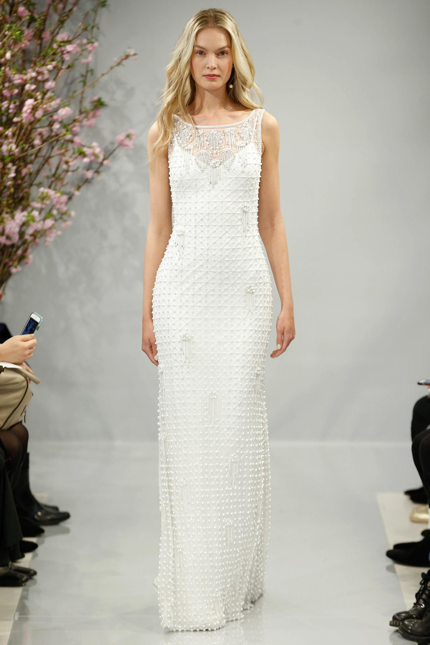 theia wedding dress spring 2018 illusion spaghetti strap embellished