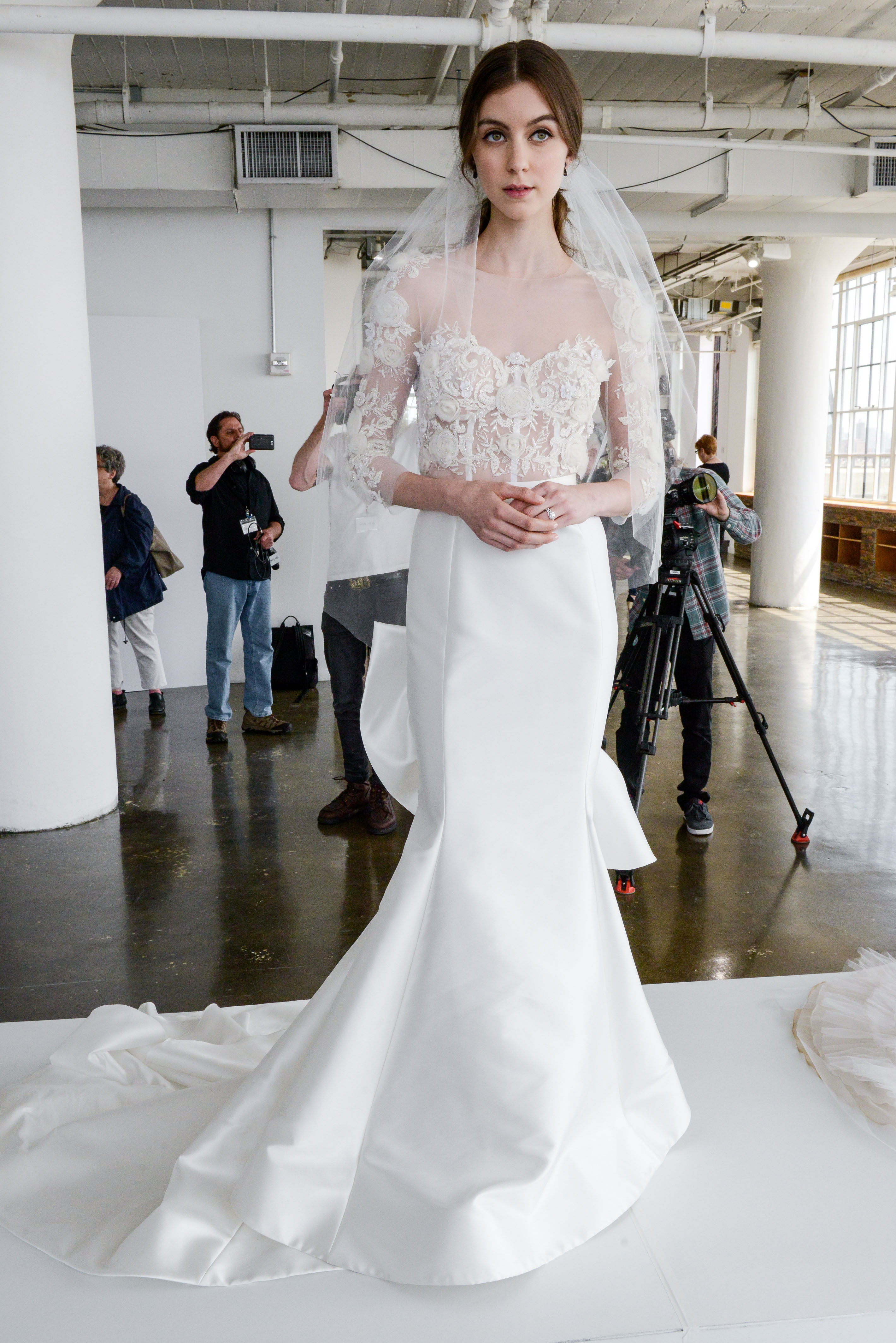 marchesa spring 2018 mermaid wedding with lace bodice and three-quarter length sleeves