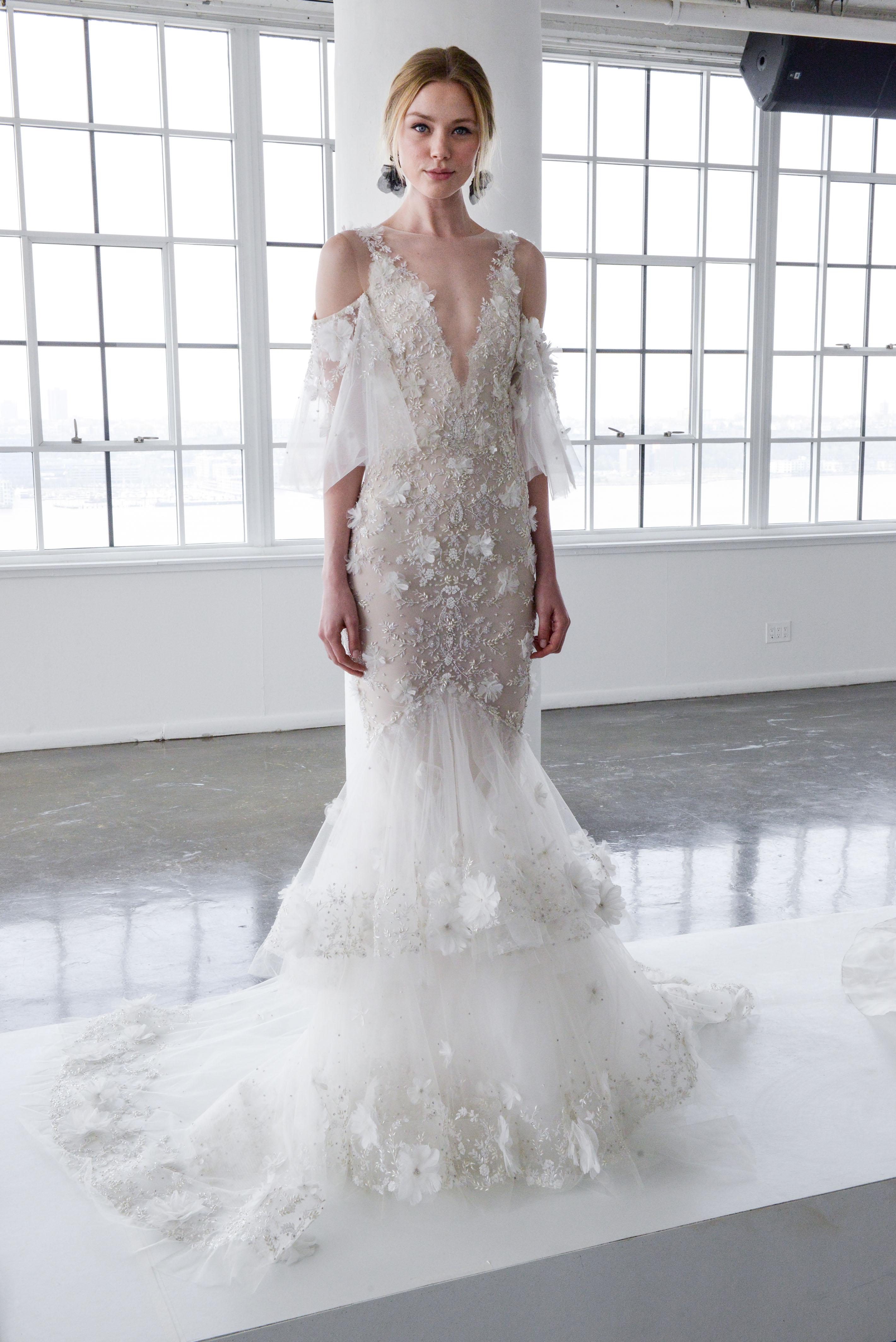 marchesa spring 2018 mermaid wedding dress with a deep v-neckline