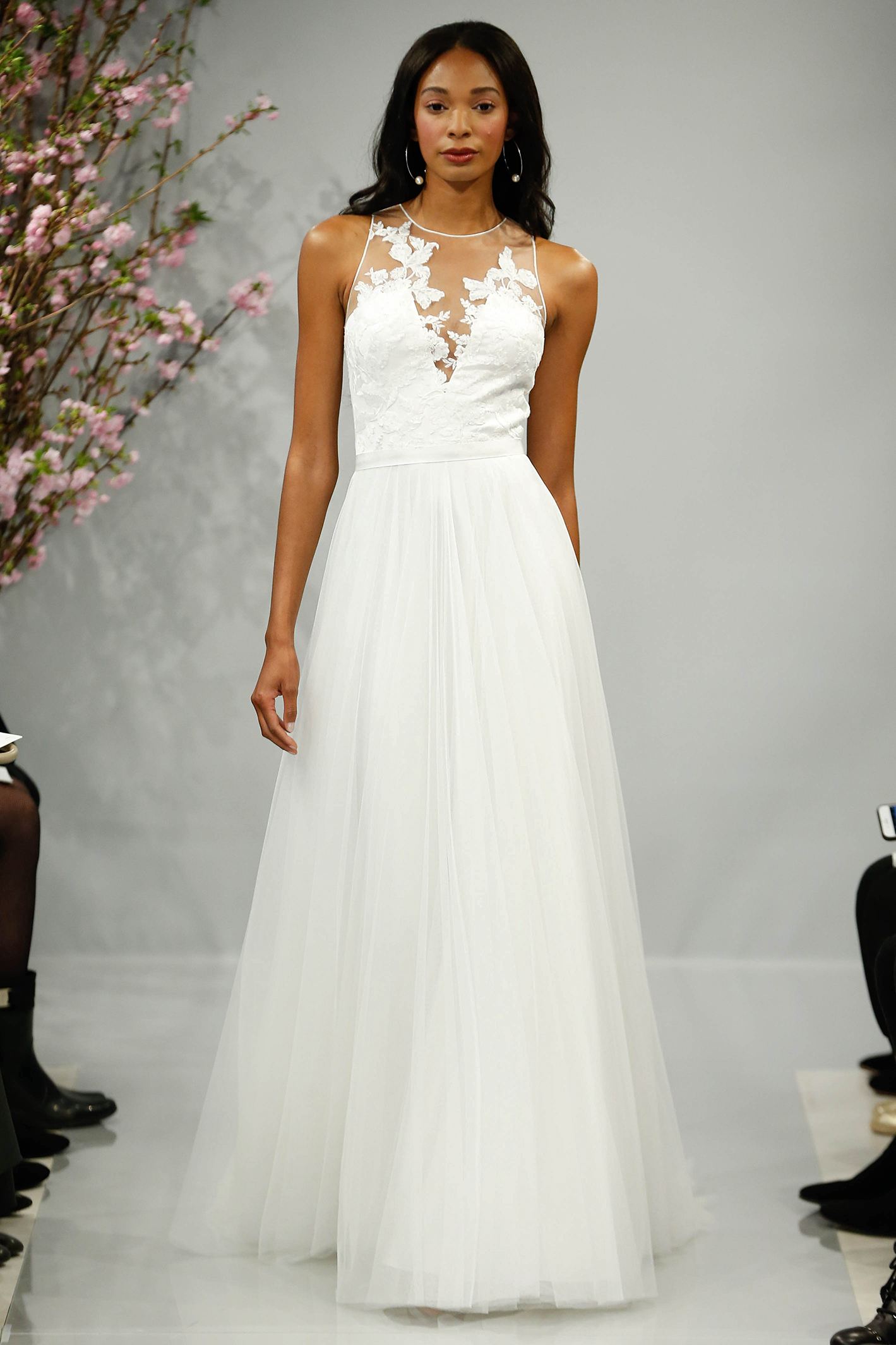 theia wedding dress spring 2018 illusion high neck a-line
