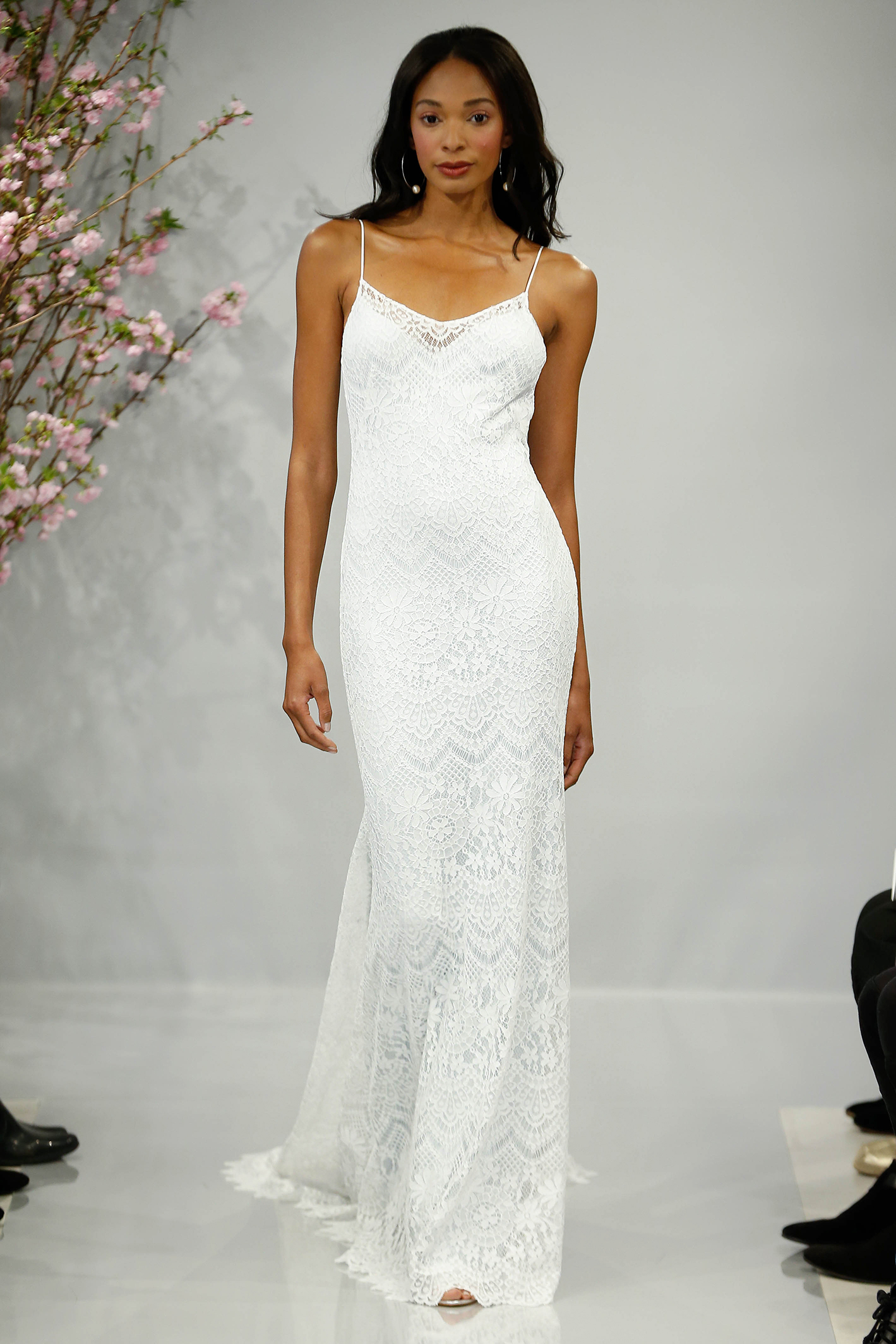 theia wedding dress spring 2018 spaghetti strap fringe bottom