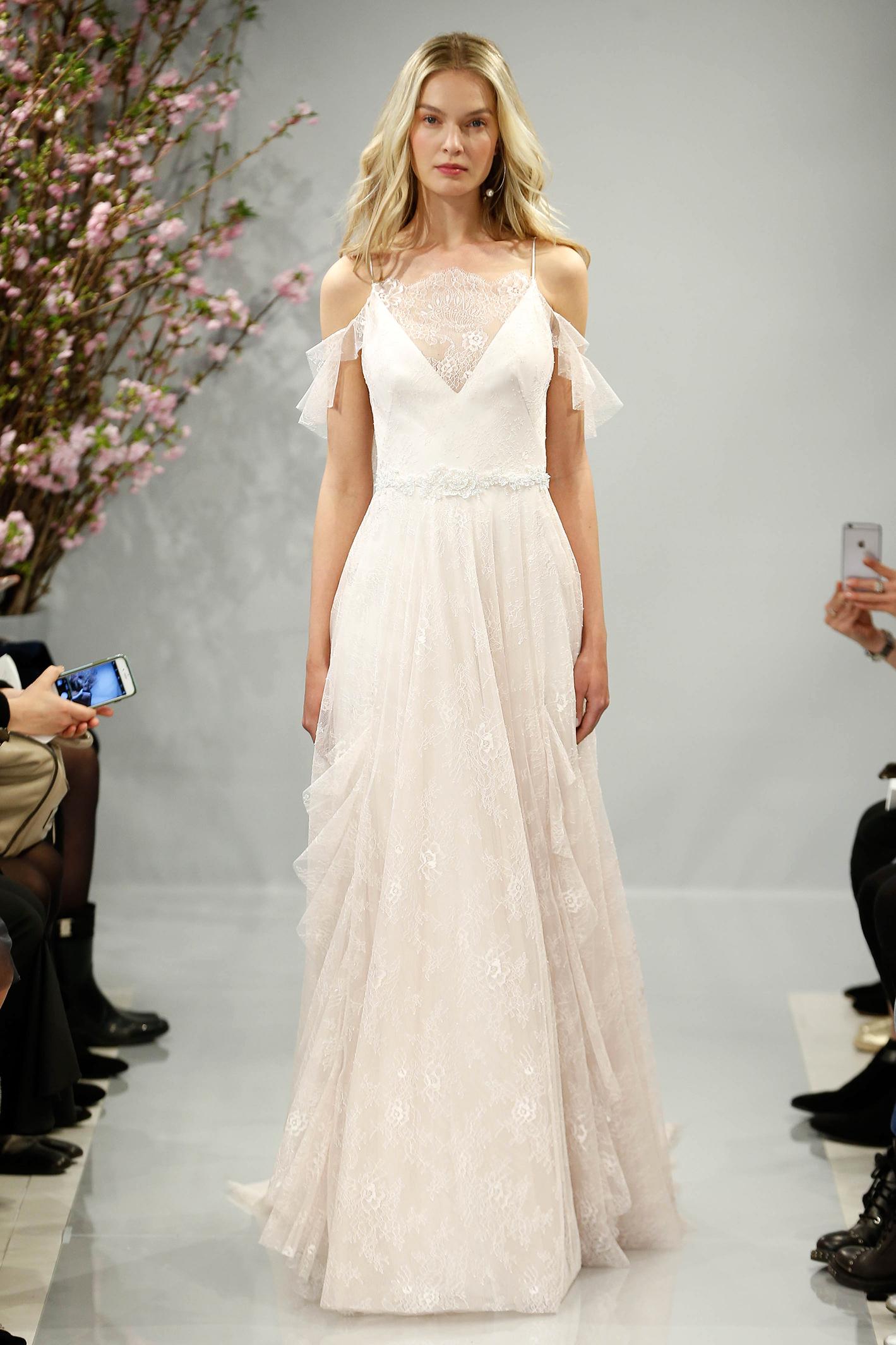 theia wedding dress spring 2018 blush off-the-shoulder v-neck