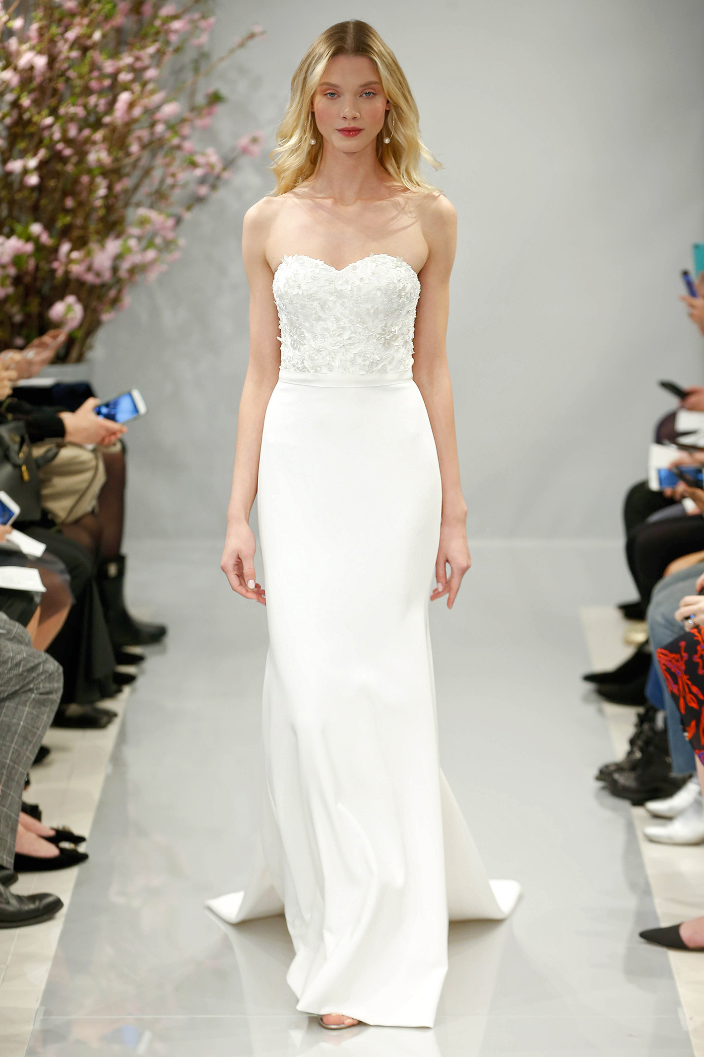 theia wedding dress spring 2018 sweetheart embellished bodice train