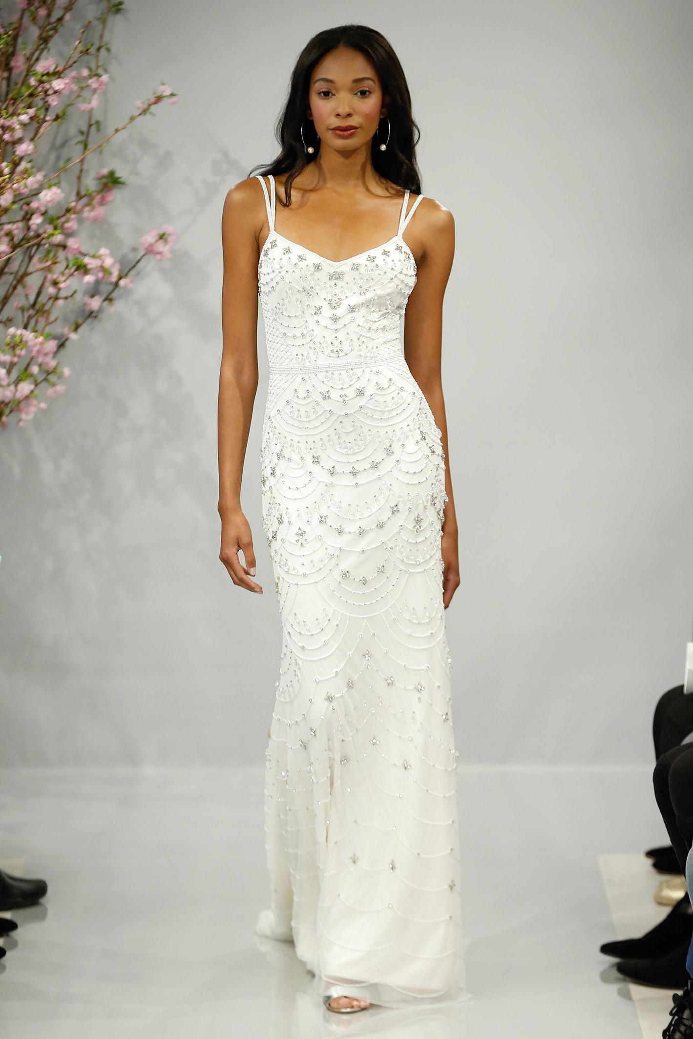 theia wedding dress spring 2018 double spaghetti strap embellished
