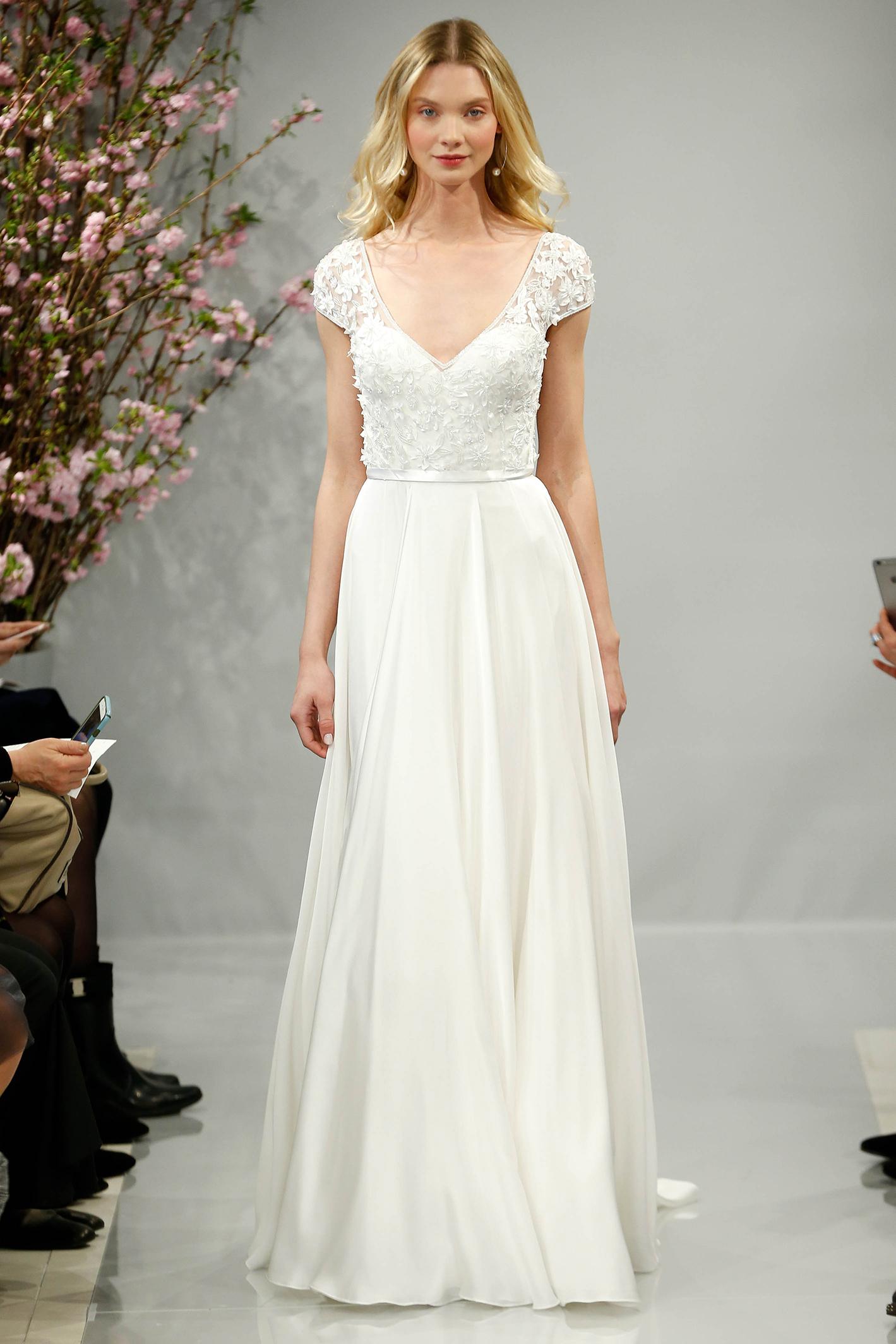 theia wedding dress spring 2018 cap sleeve v-neck
