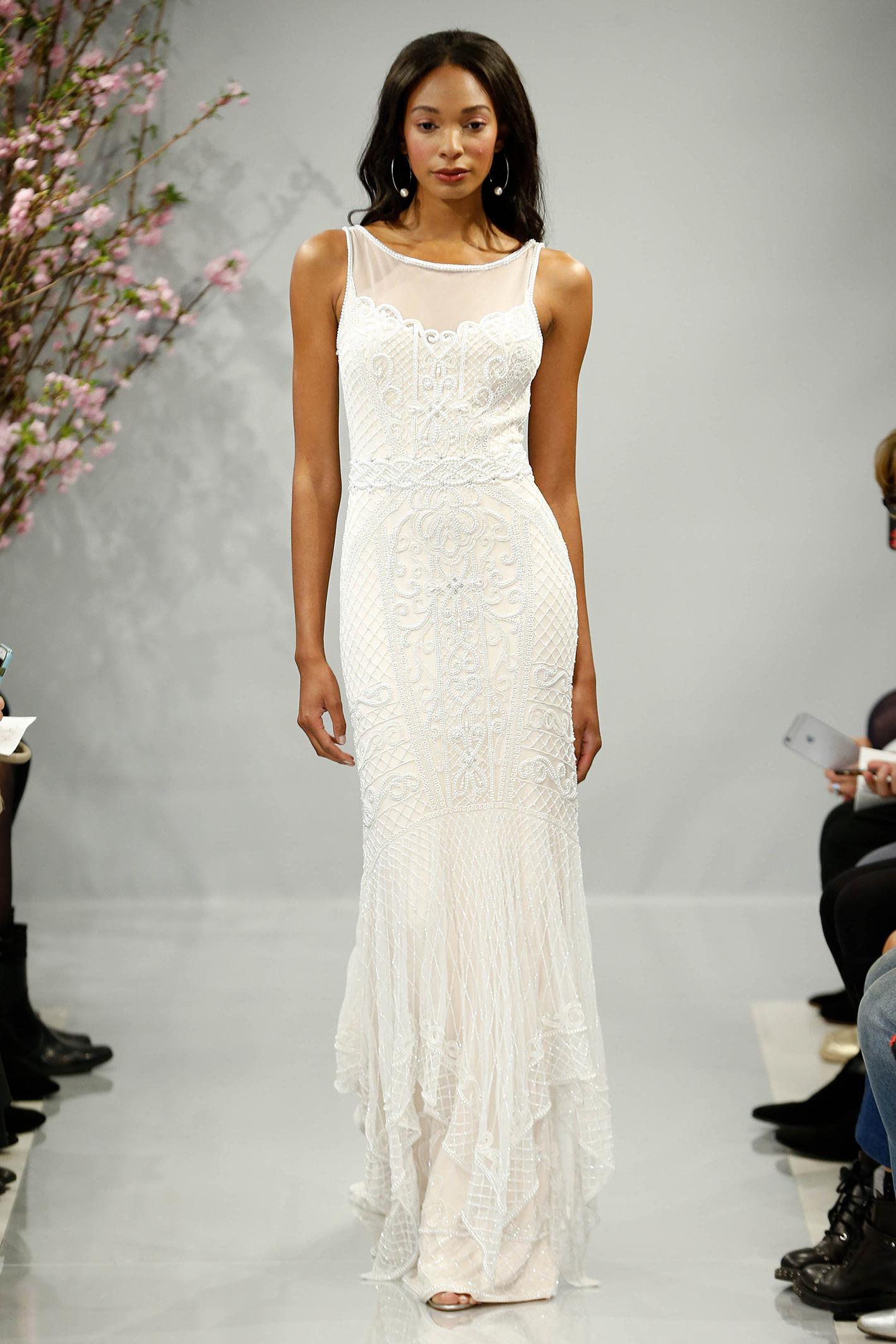 theia wedding dress spring 2018 embellished overlay high neck