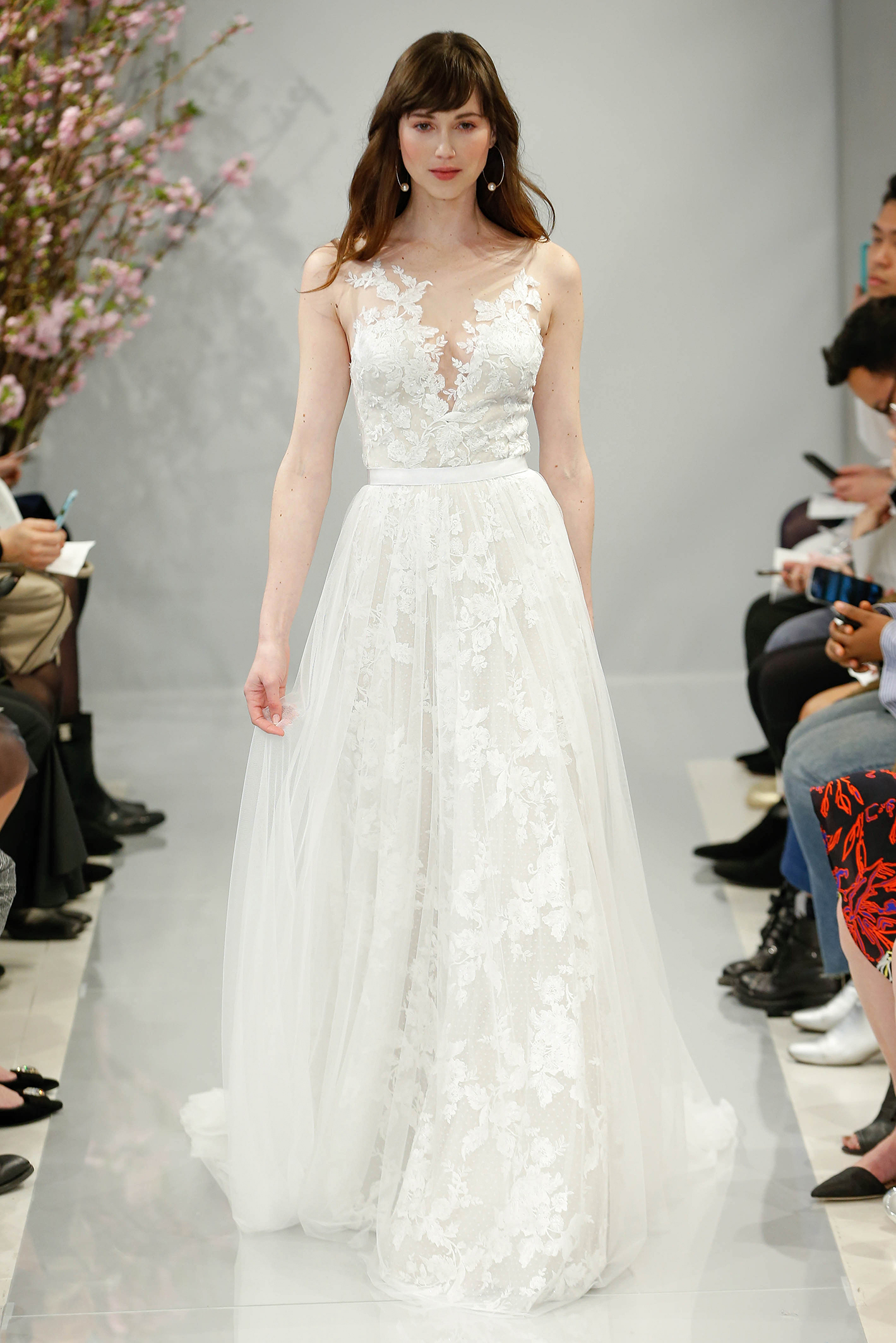 theia wedding dress spring 2018 embellished floral plunging v-neck