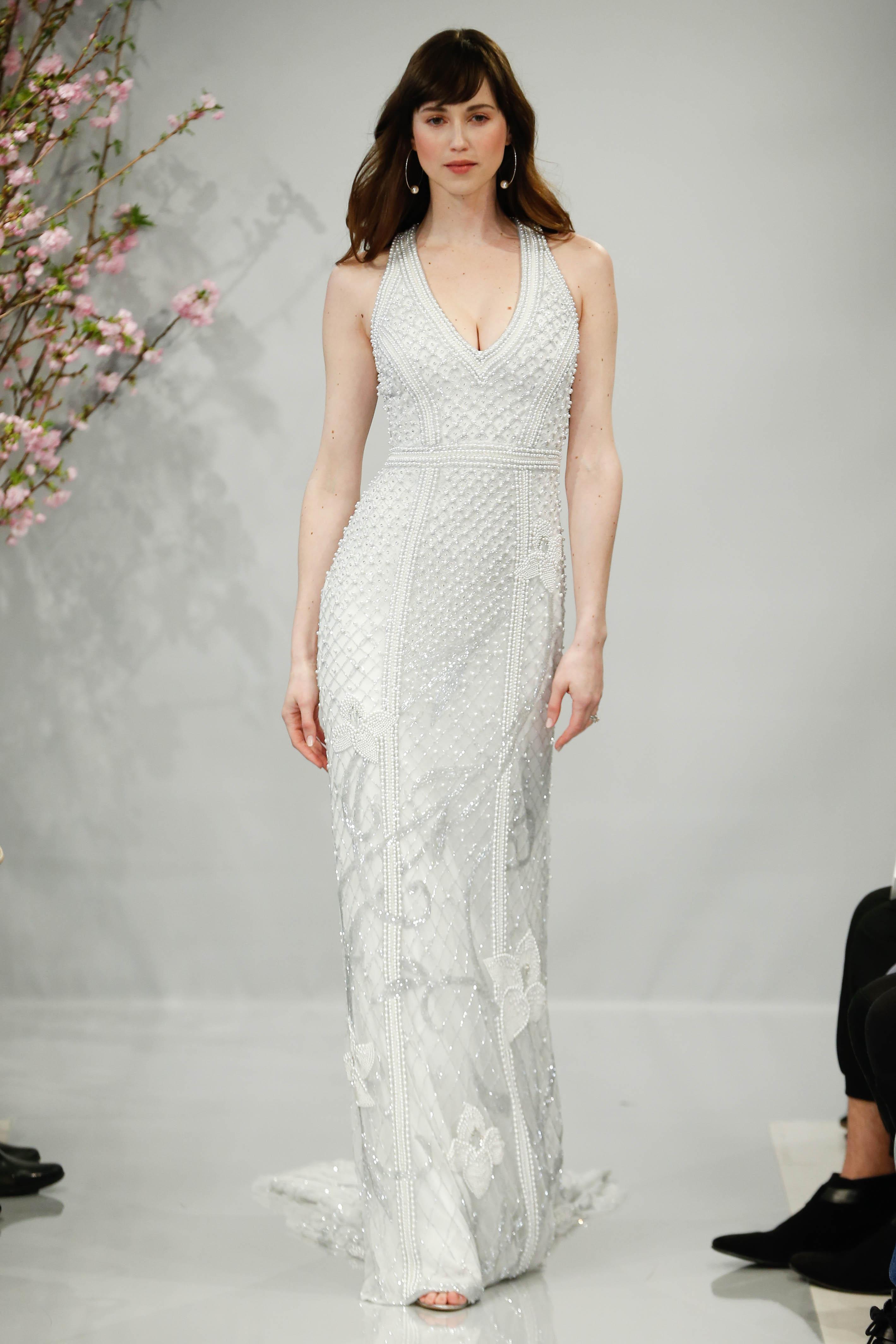 theia wedding dress spring 2018 embellished v-neck halter