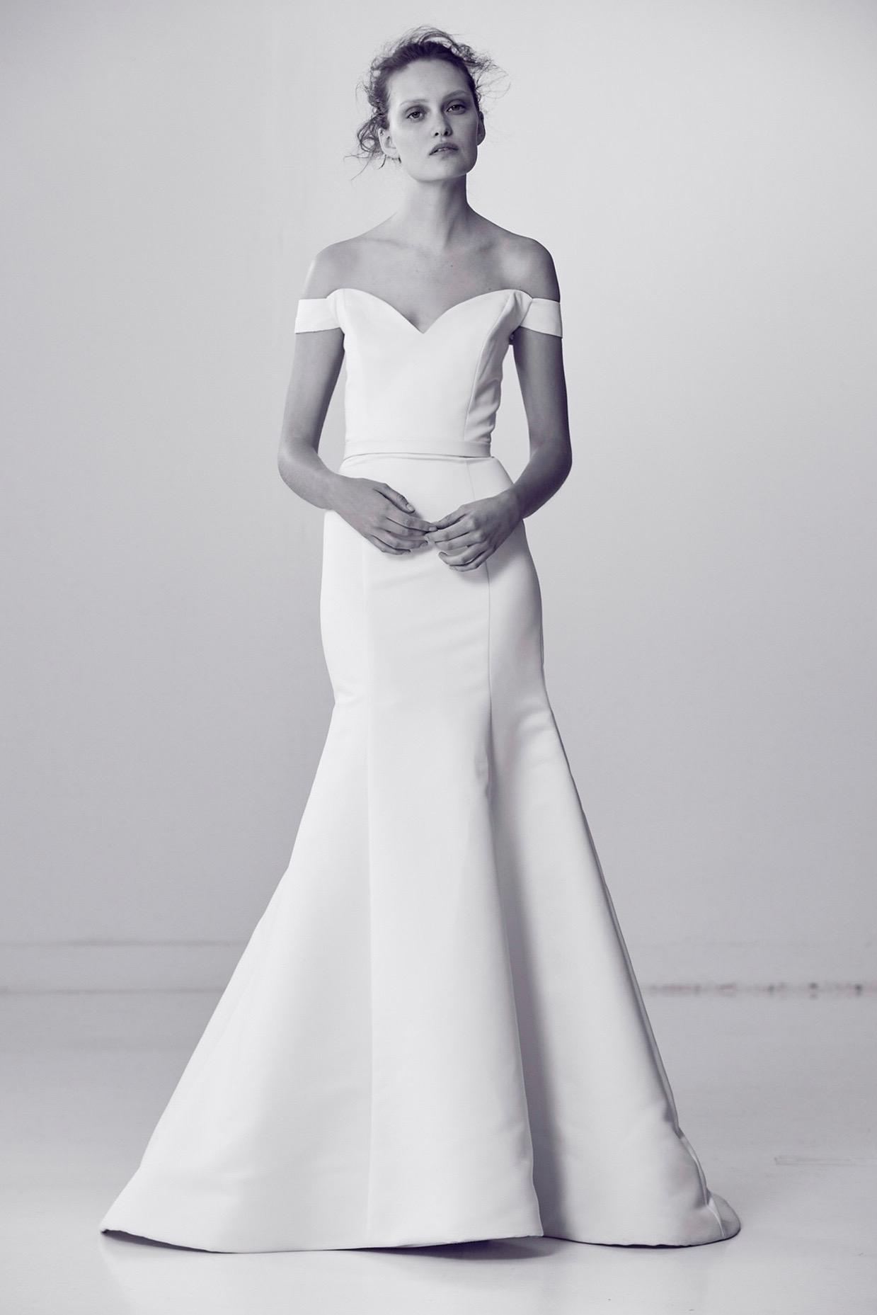 Off-the-Shoulder Alyne by Rita Vineries Trumpet Wedding Dress Spring 2018